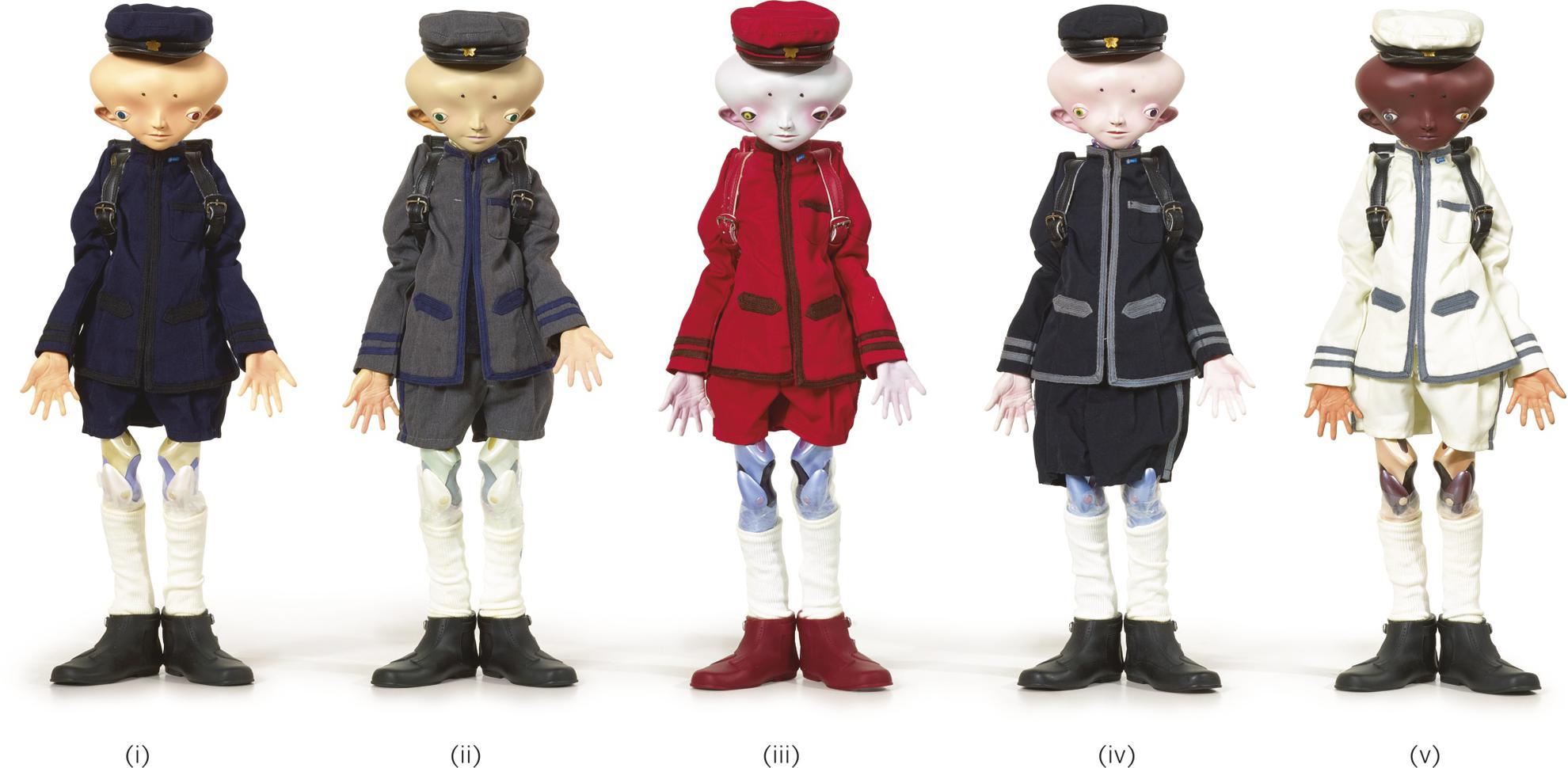 Takashi Murakami-Inochi Doll: I. Yamamoto/ II. Zhang/ III. David/ IV. Victor/ V. Bob (Five Works)-2009