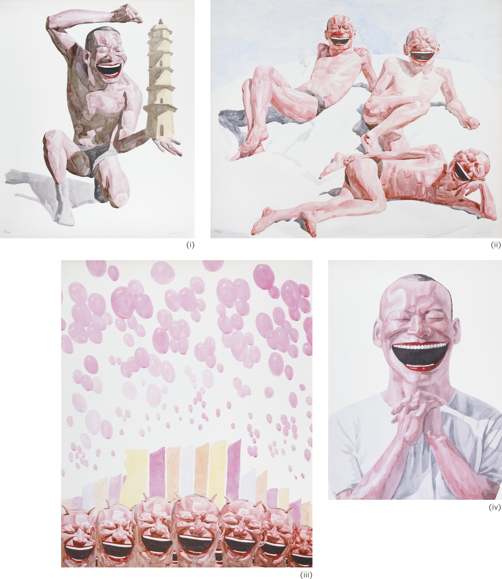 Yue Minjun-Smile-Ism Series No. 17, 25, 18, 23 (Four Works)-2006