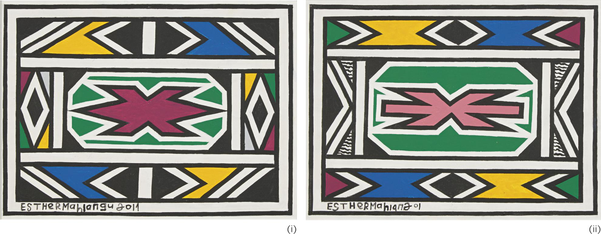 Esther Mahlangu - Untitled (Two Works)-2017