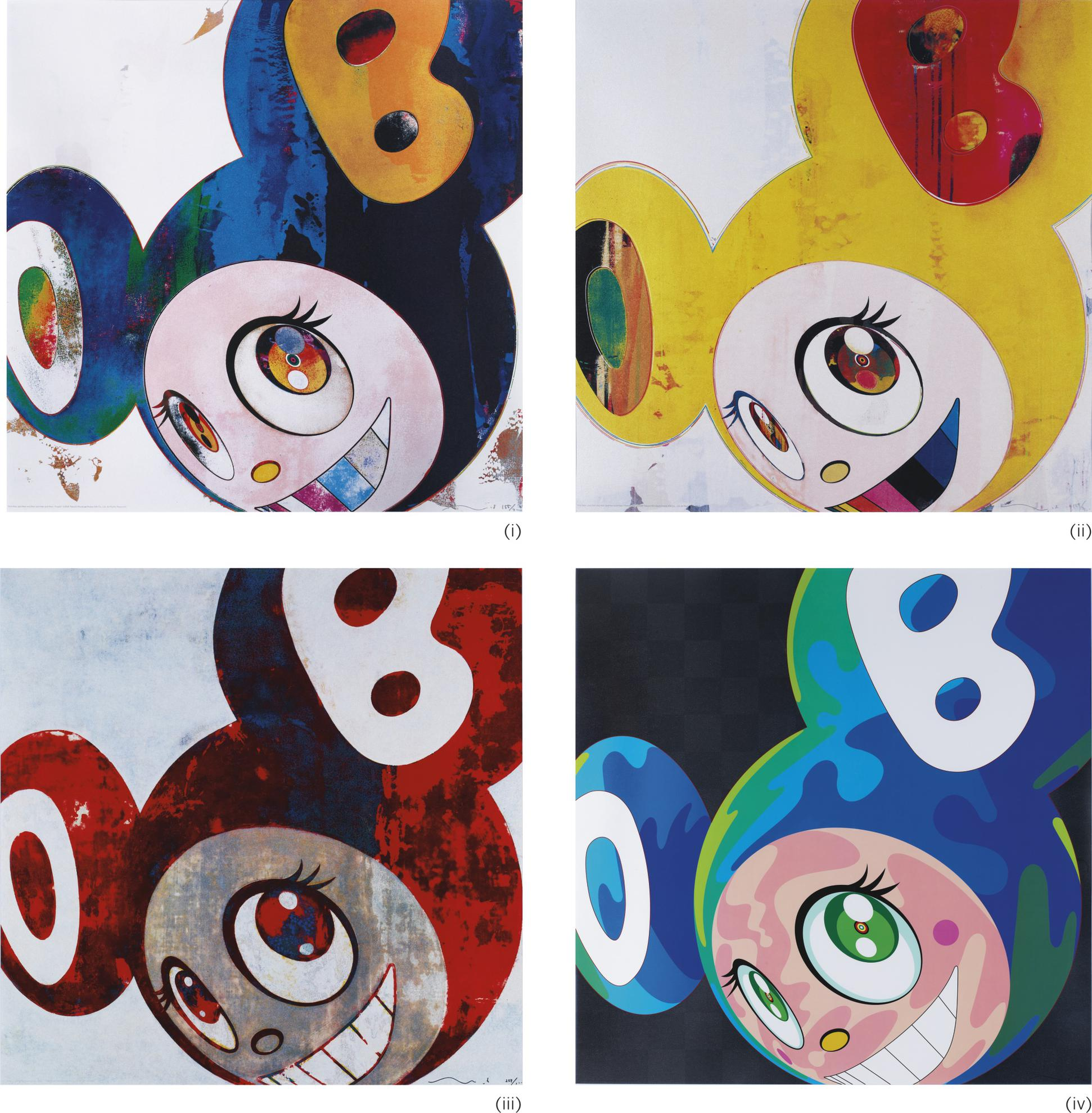 Takashi Murakami-And Then And Then And Then And Then And Then: I. Cream/ Ii. Yellow Jelly/ Iii. Blue-Red/ Iv. Melting Dob (Four Works)-2006