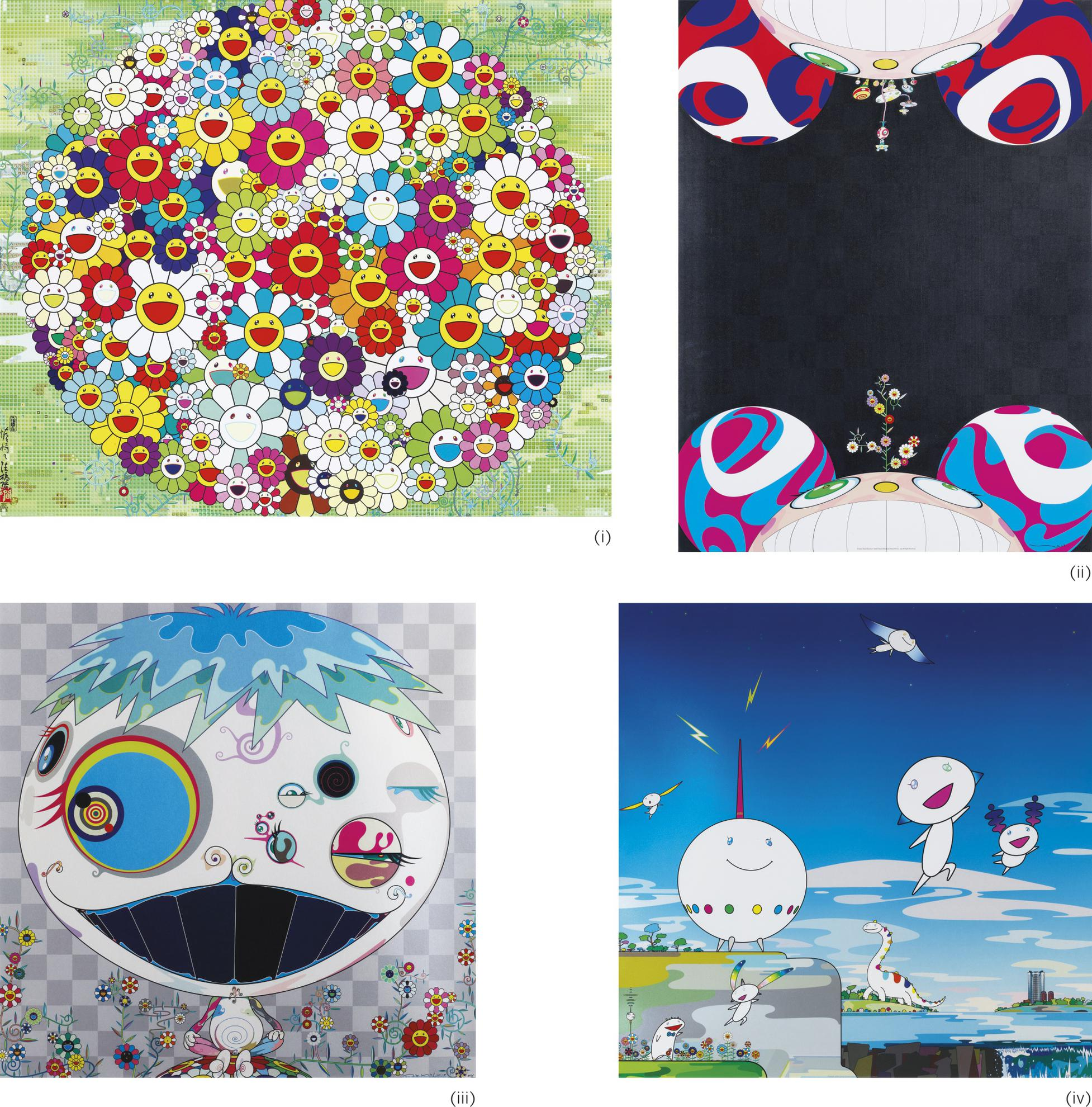 Takashi Murakami-(i) Open Your Hands Wide/ (ii) Flowers Have Bloomed/ (iii) Jelly Fish/ (iv) Planet 66 (Four Works)-2010