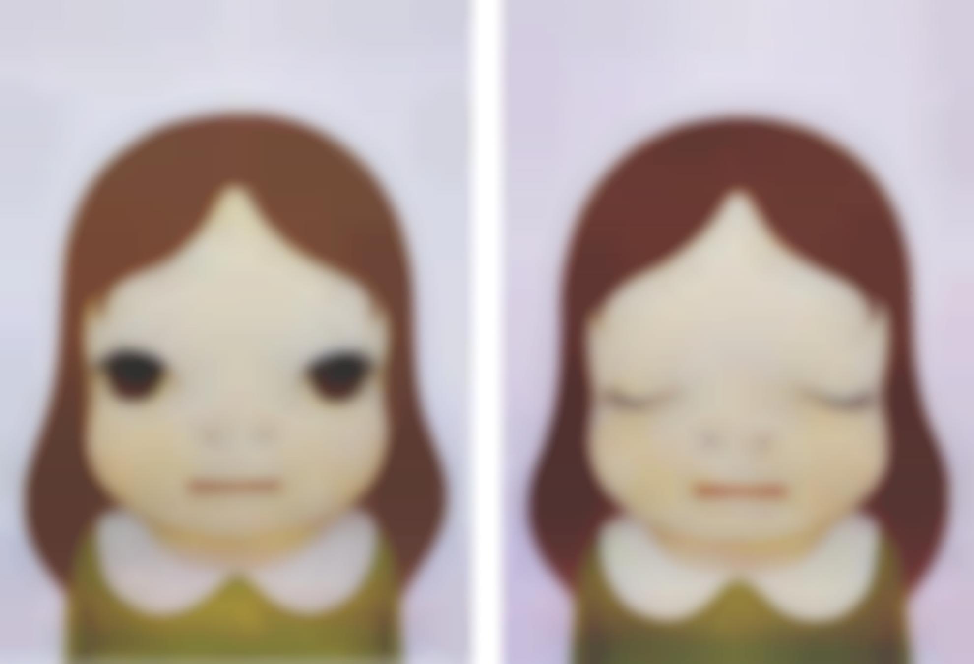 Yoshitomo Nara-Cosmic Girls: Eyes Opened/ Eyes Closed (Two Works)-2008