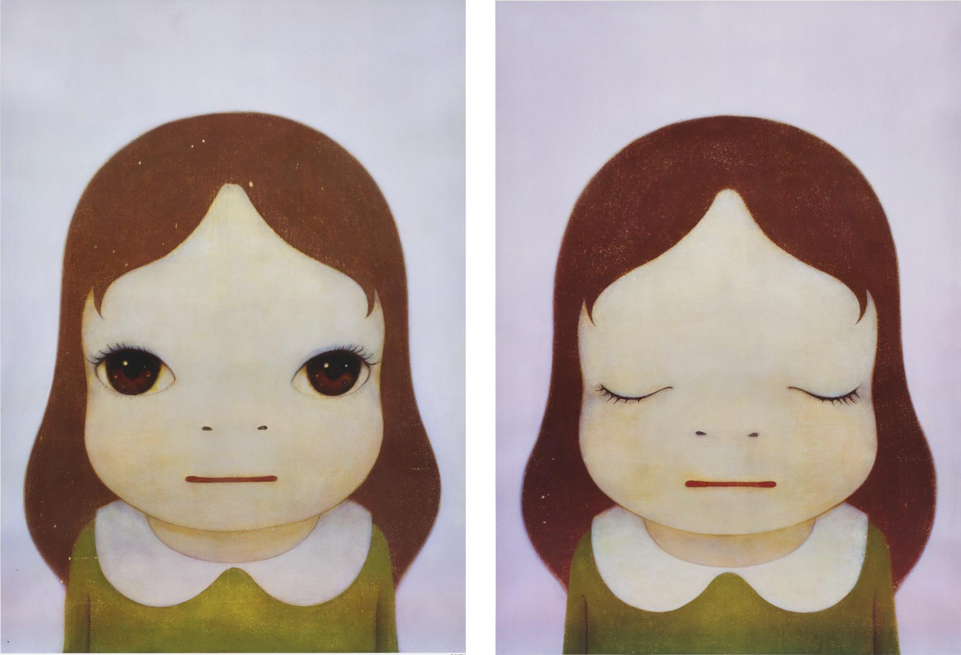 Yoshitomo Nara-Cosmic Girls: Eyes Opened/ Eyes Closed (Two Works)-2008