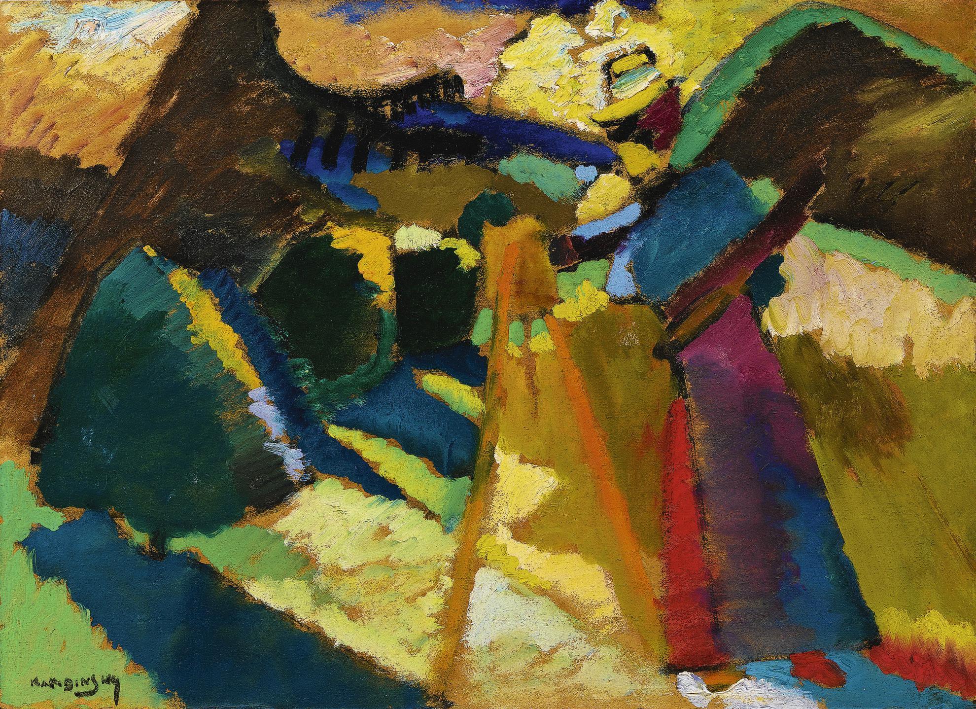 Wassily Kandinsky-Gabriele Munter Im Freien Vor Der Staffelei (Gabriele Munter Painting Outdoors In Front Of An Easel)-1910