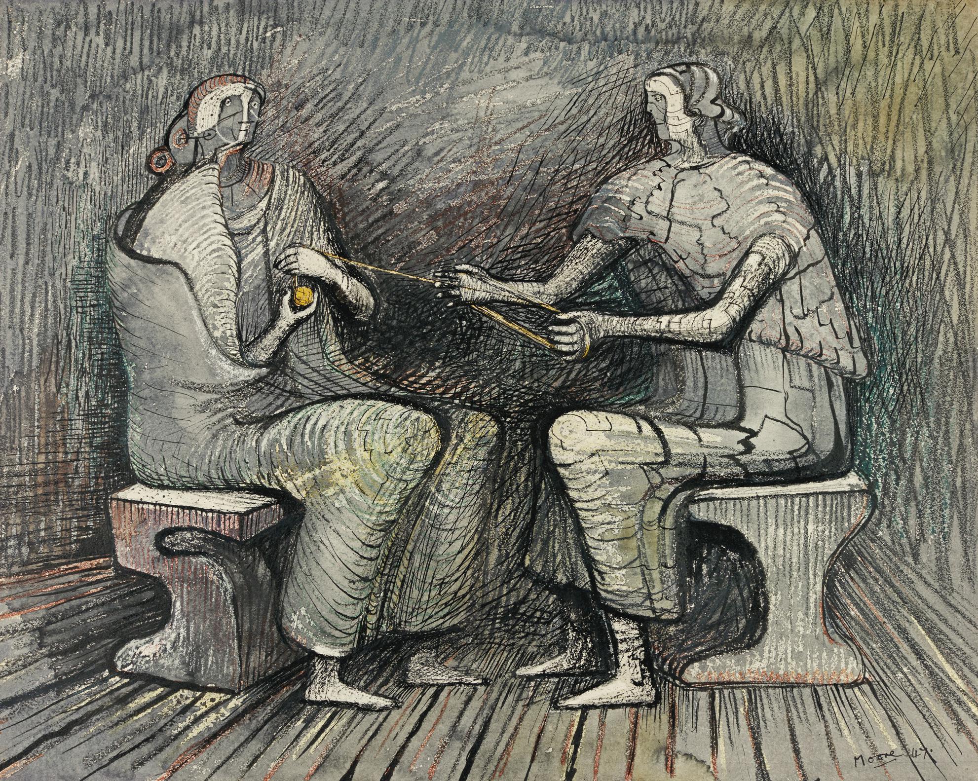 Henry Moore-Women Winding Wool-1947