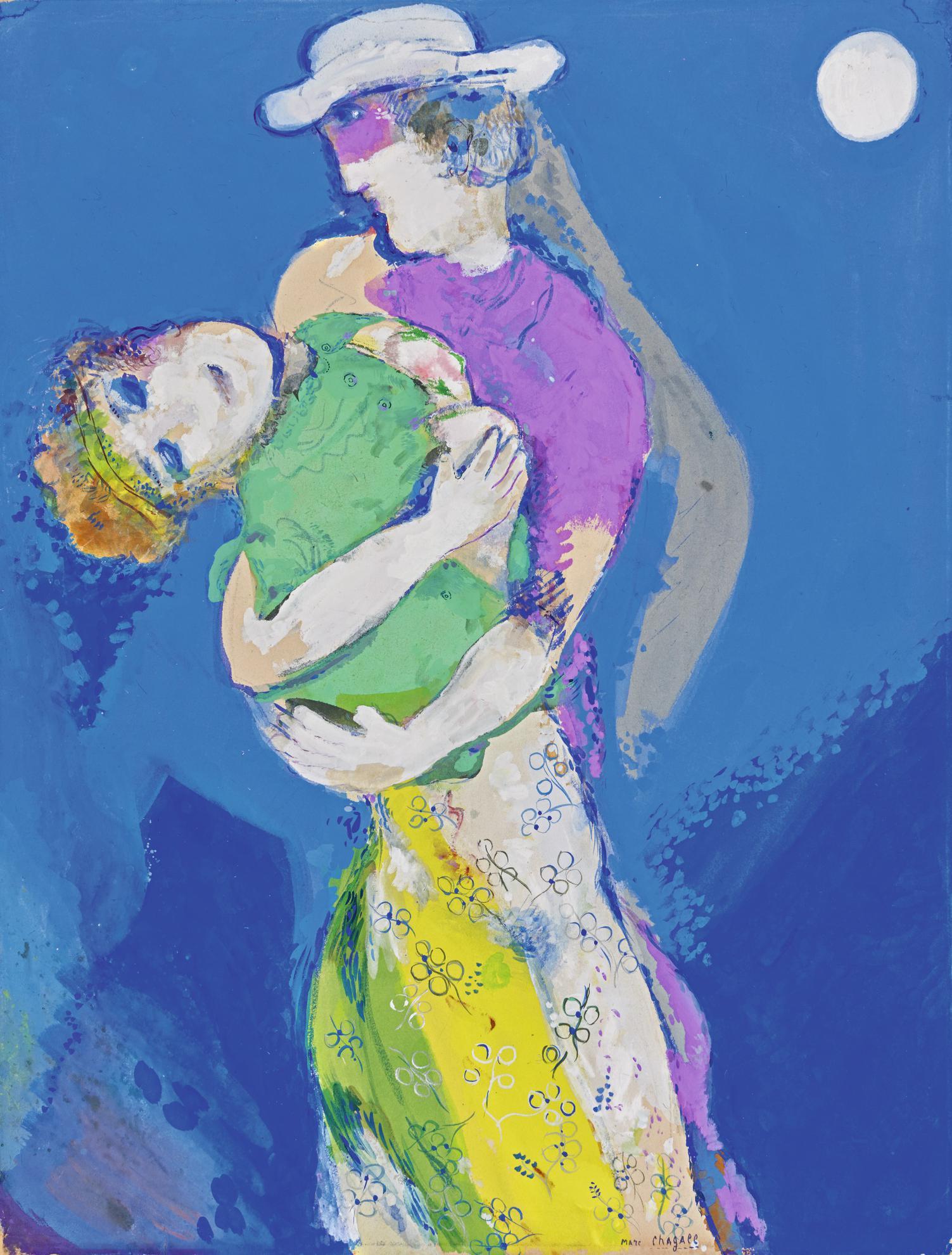 Marc Chagall-Les Amants Au Clair De Lune-1928