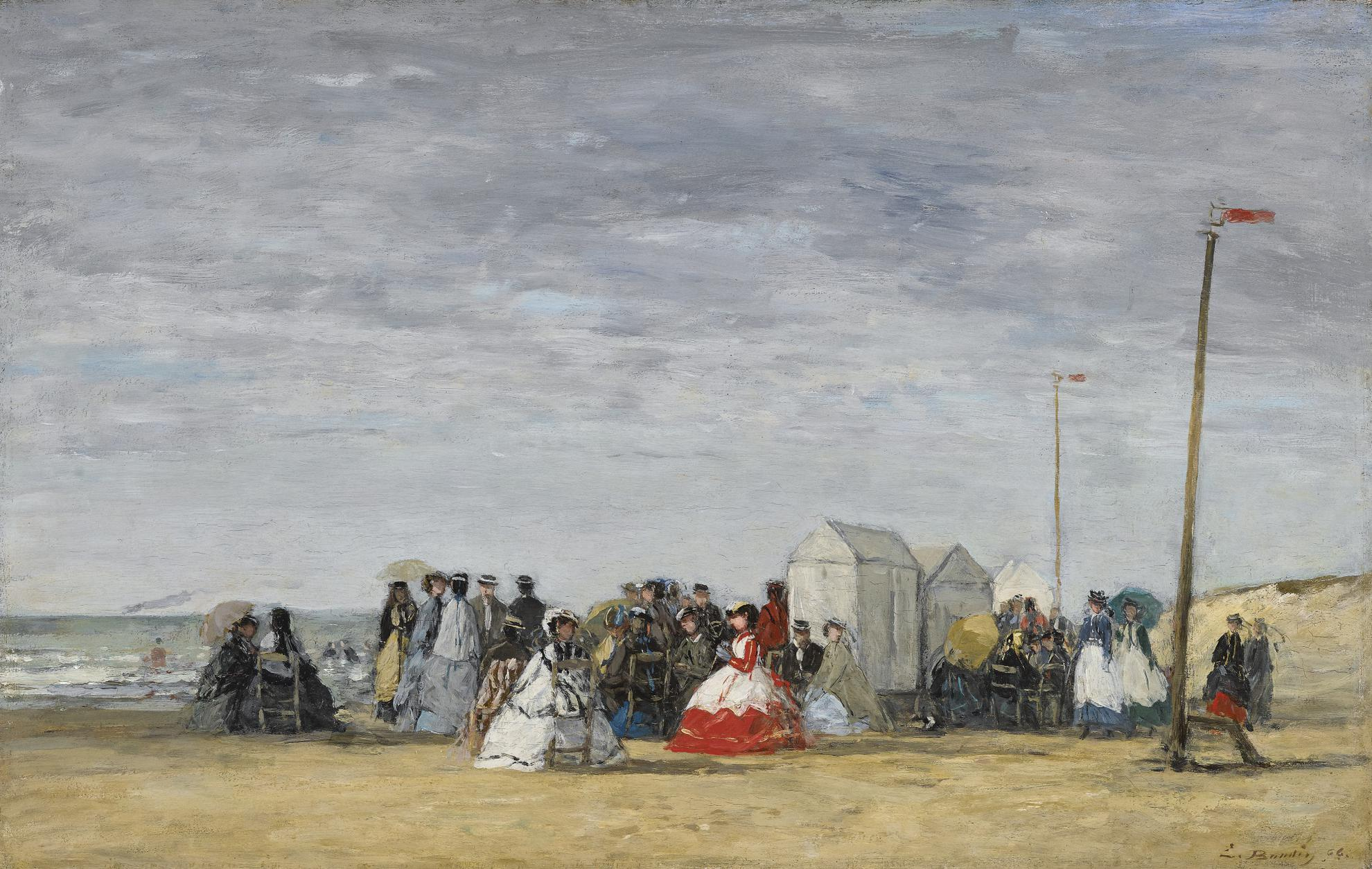 Eugene Louis Boudin-Crinolines Sur La Plage-1866