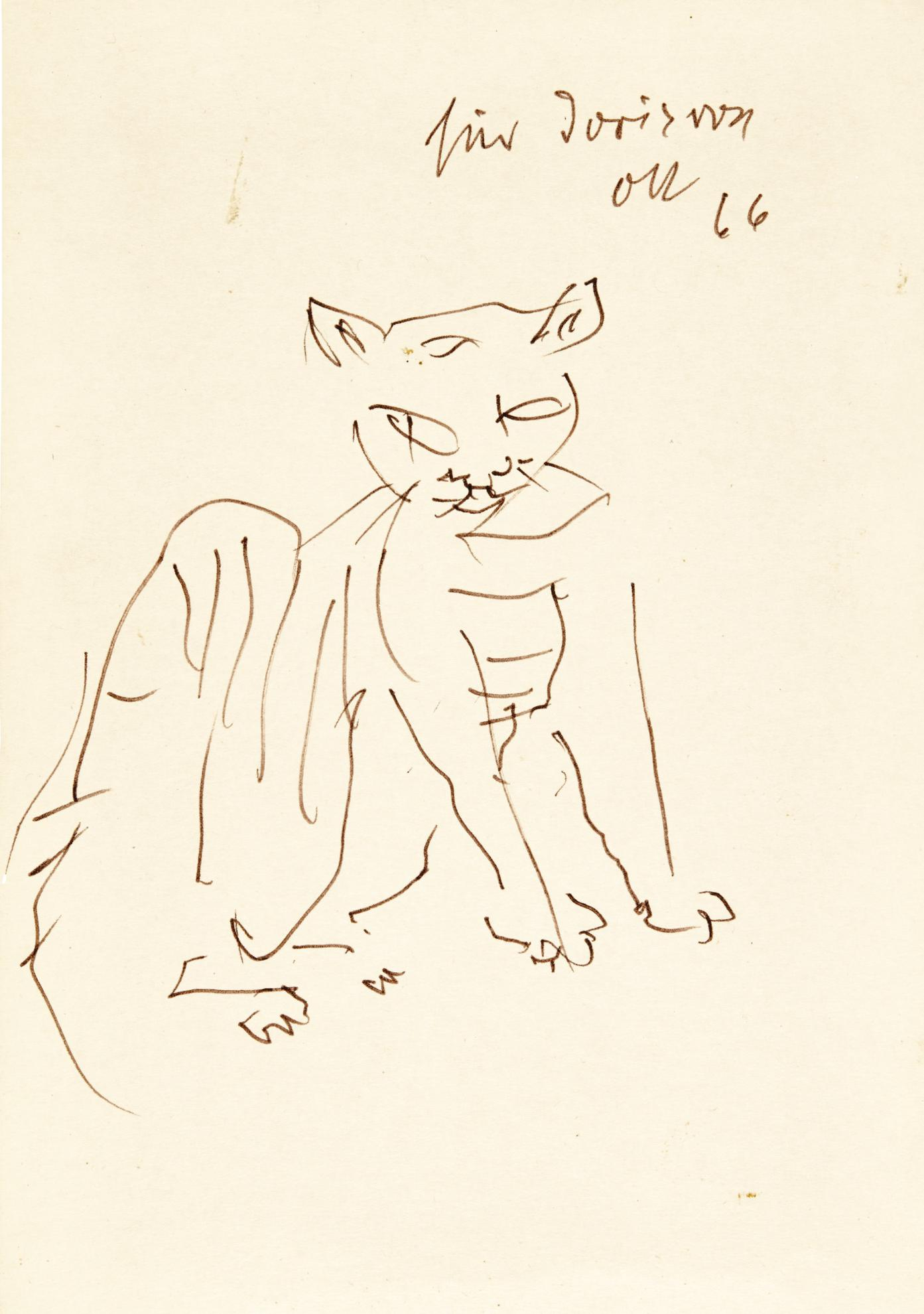 Oskar Kokoschka-Katze (Cat)-1966