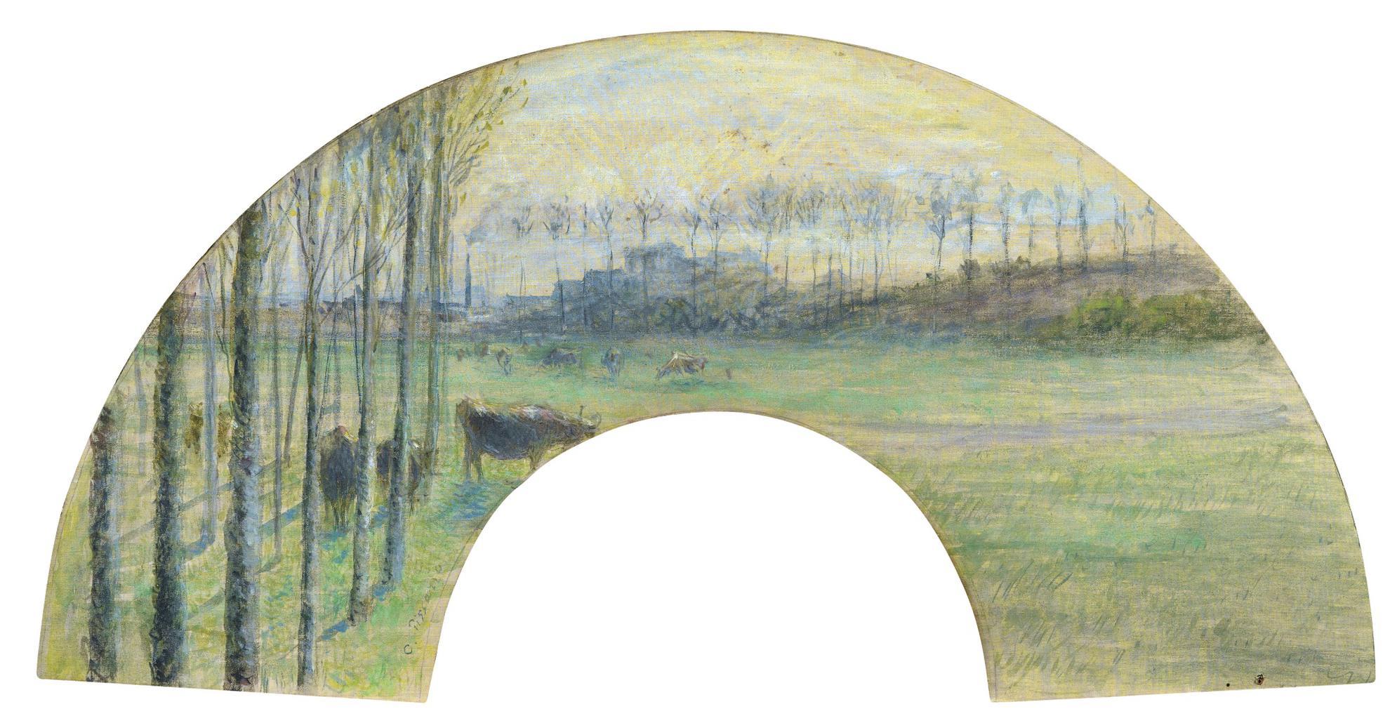 Camille Pissarro-Vaches Au Pre, Pontoise Au Lointain-1880