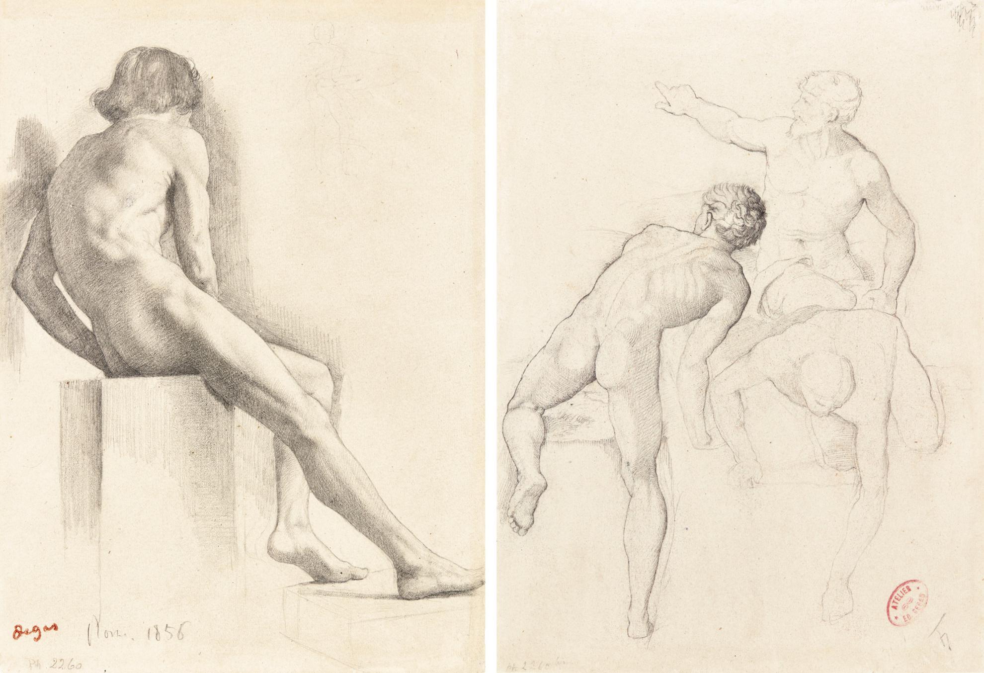 Edgar Degas-Homme Nu Assis - Recto Etude Dhommes - Verso-1856