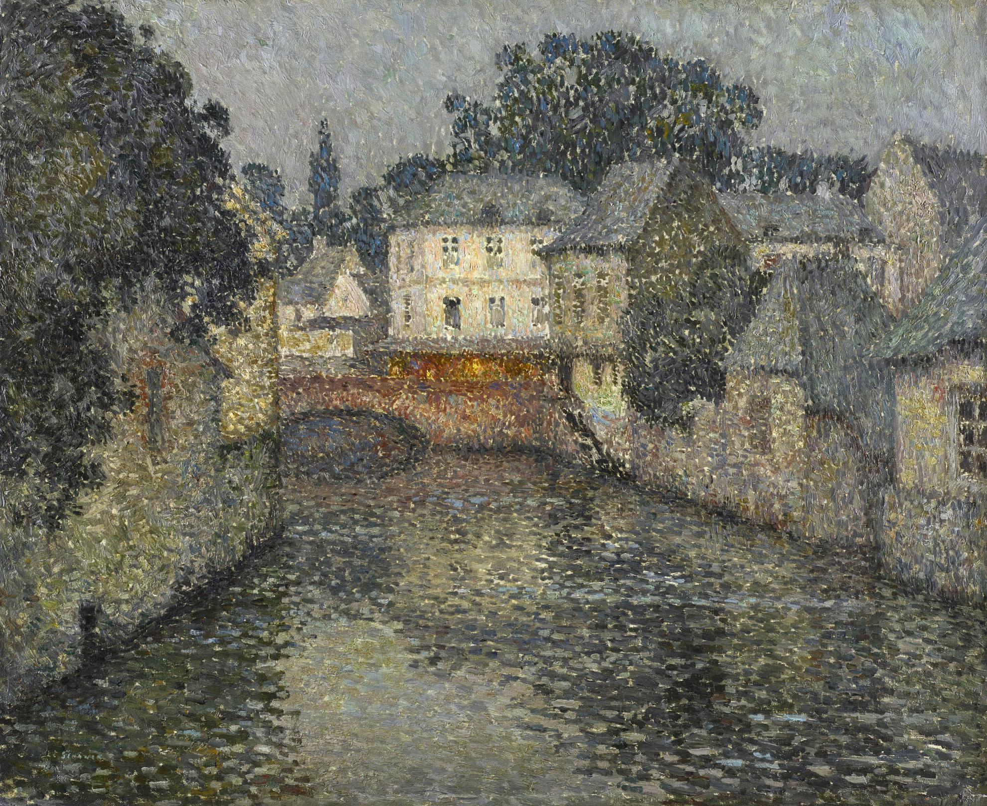 Henri Eugene Le Sidaner-Canal Avec Maison Blanche, Harfleur-1915