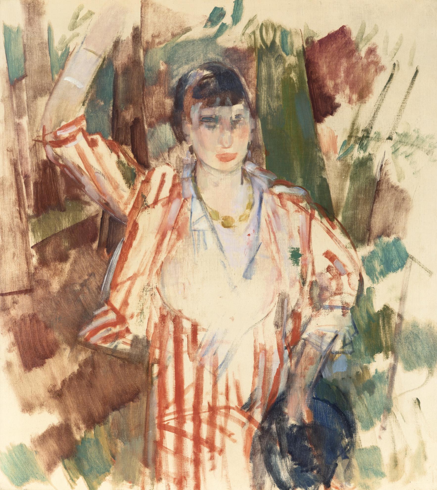 Rik Wouters-Femme En Foret, Chapeau Bleu A La Main, Bras Leve-1914