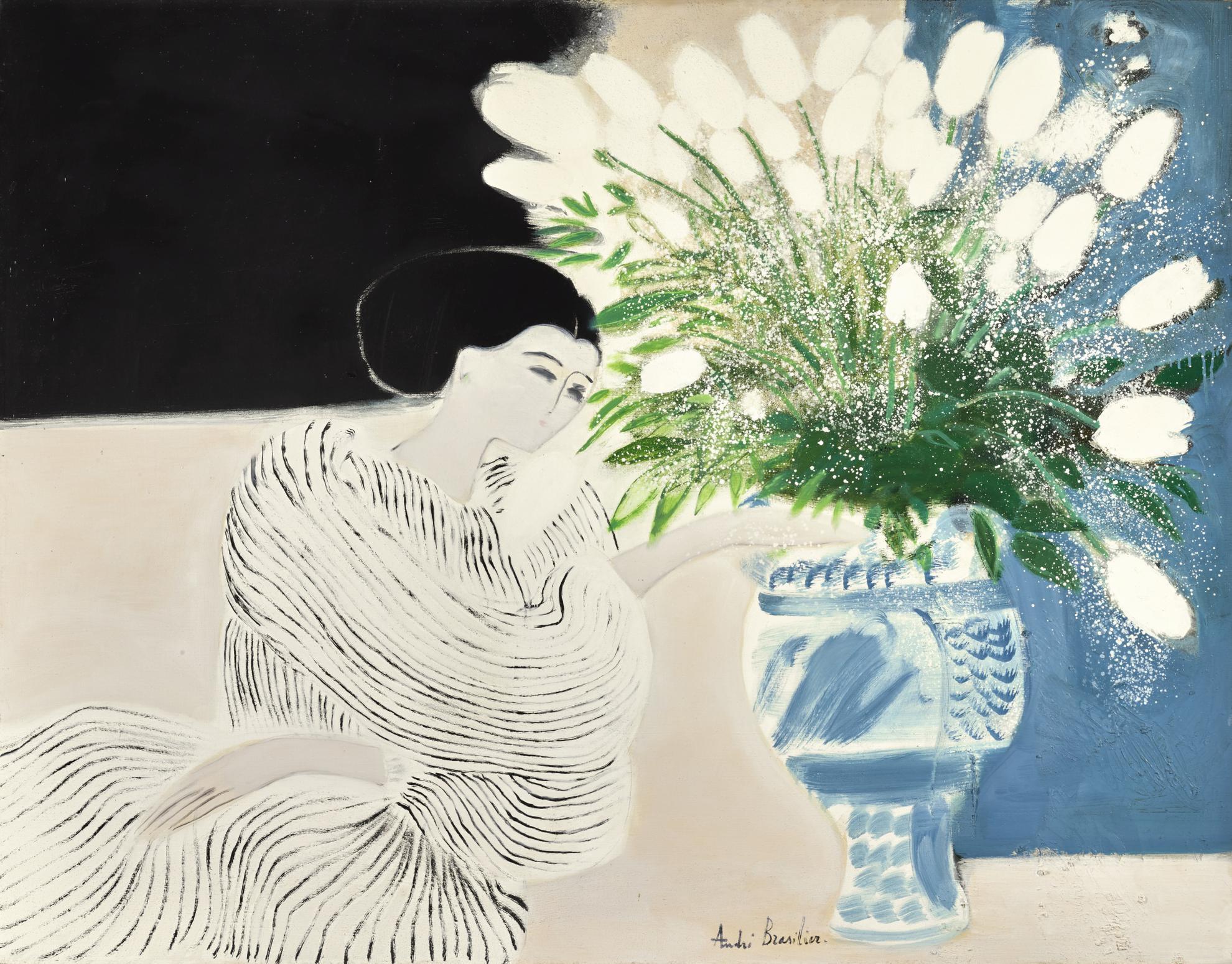 Andre Brasilier-Femme Au Grand Vase Italien-1988