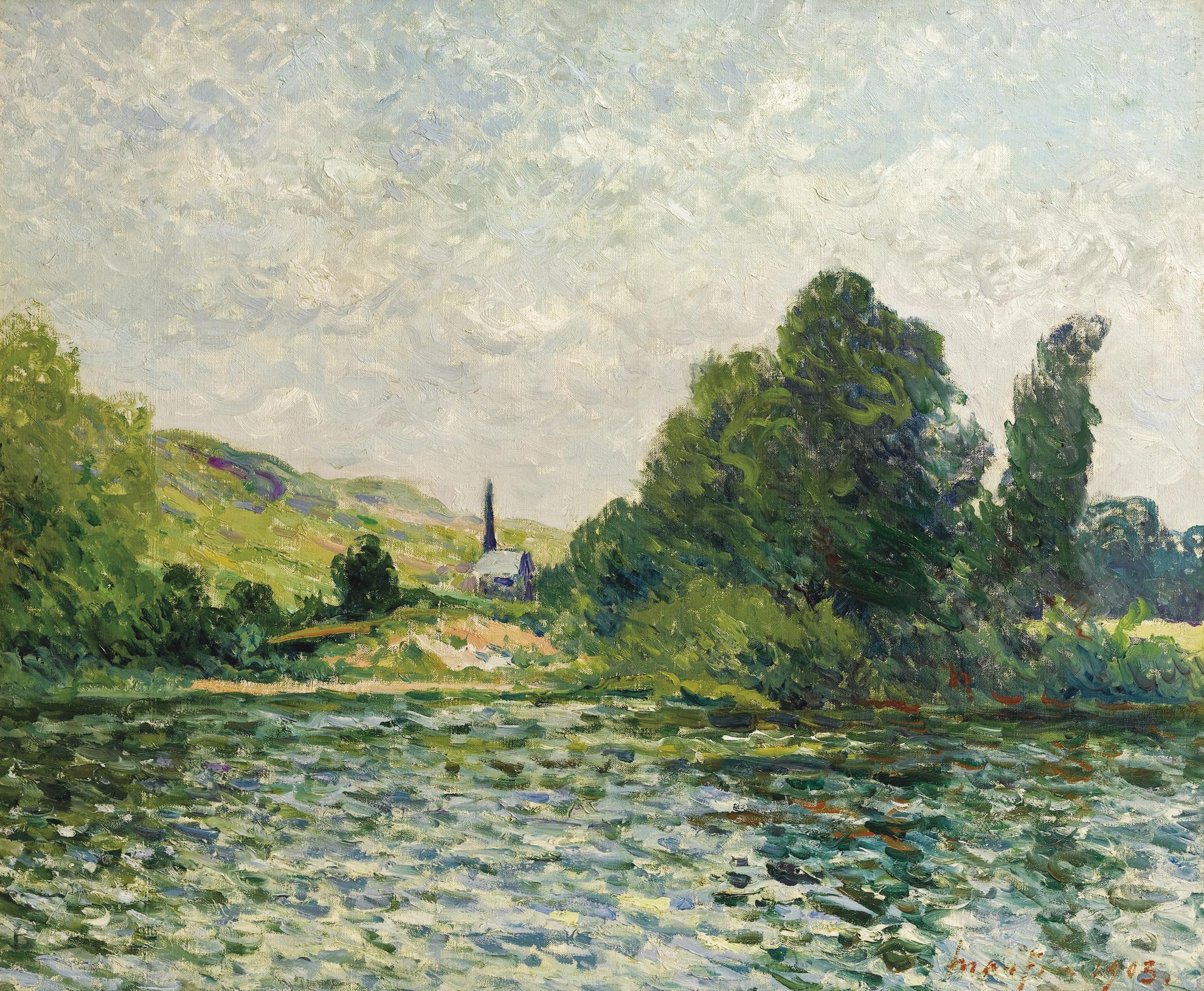 Maxime Maufra-Bords De La Seine, Paysage A Bouafles, Eure-1903