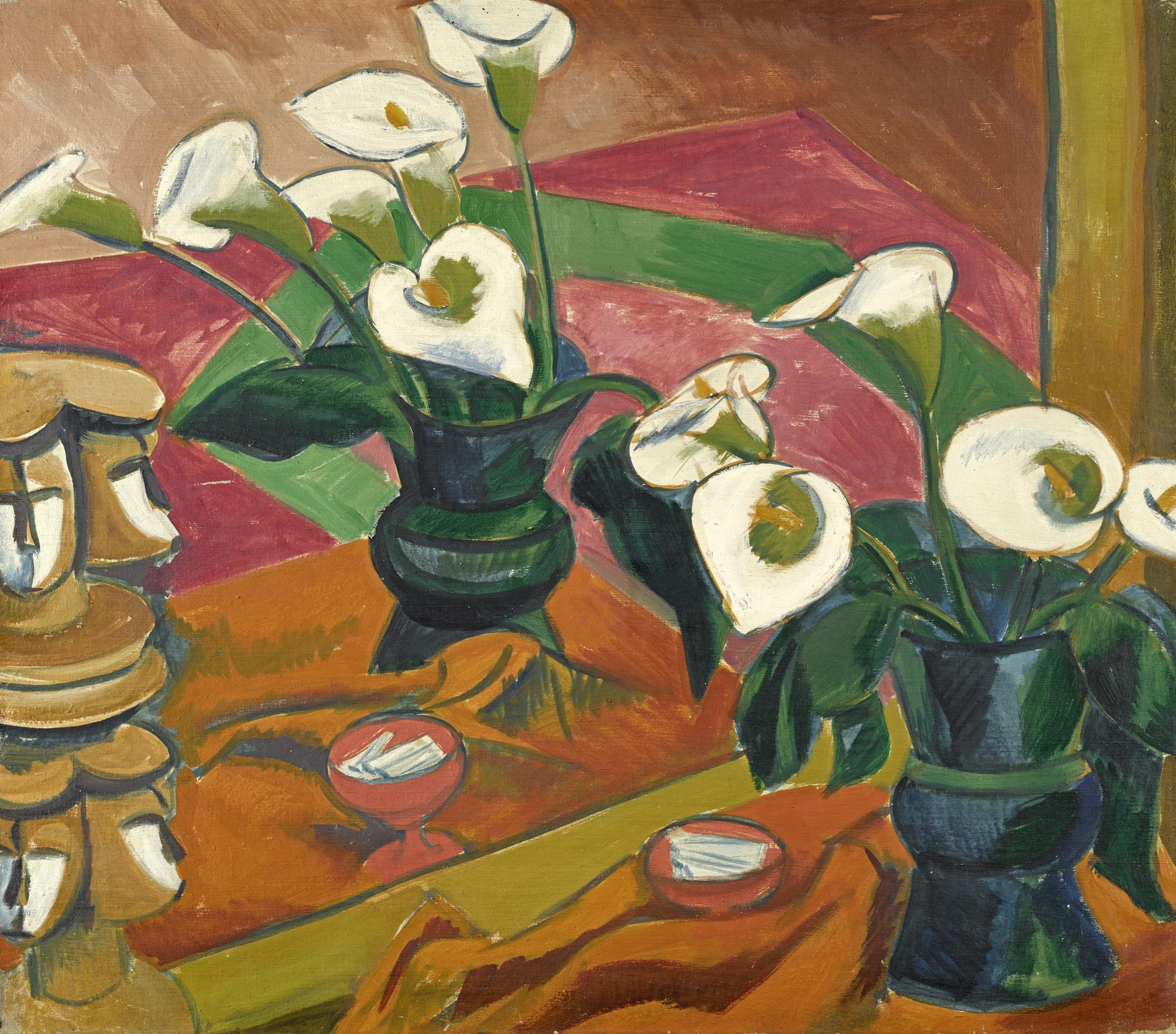 Max Pechstein-Calla Stillleben Im Spiegel (Still Life With Calla Lilies In The Mirror)-1917