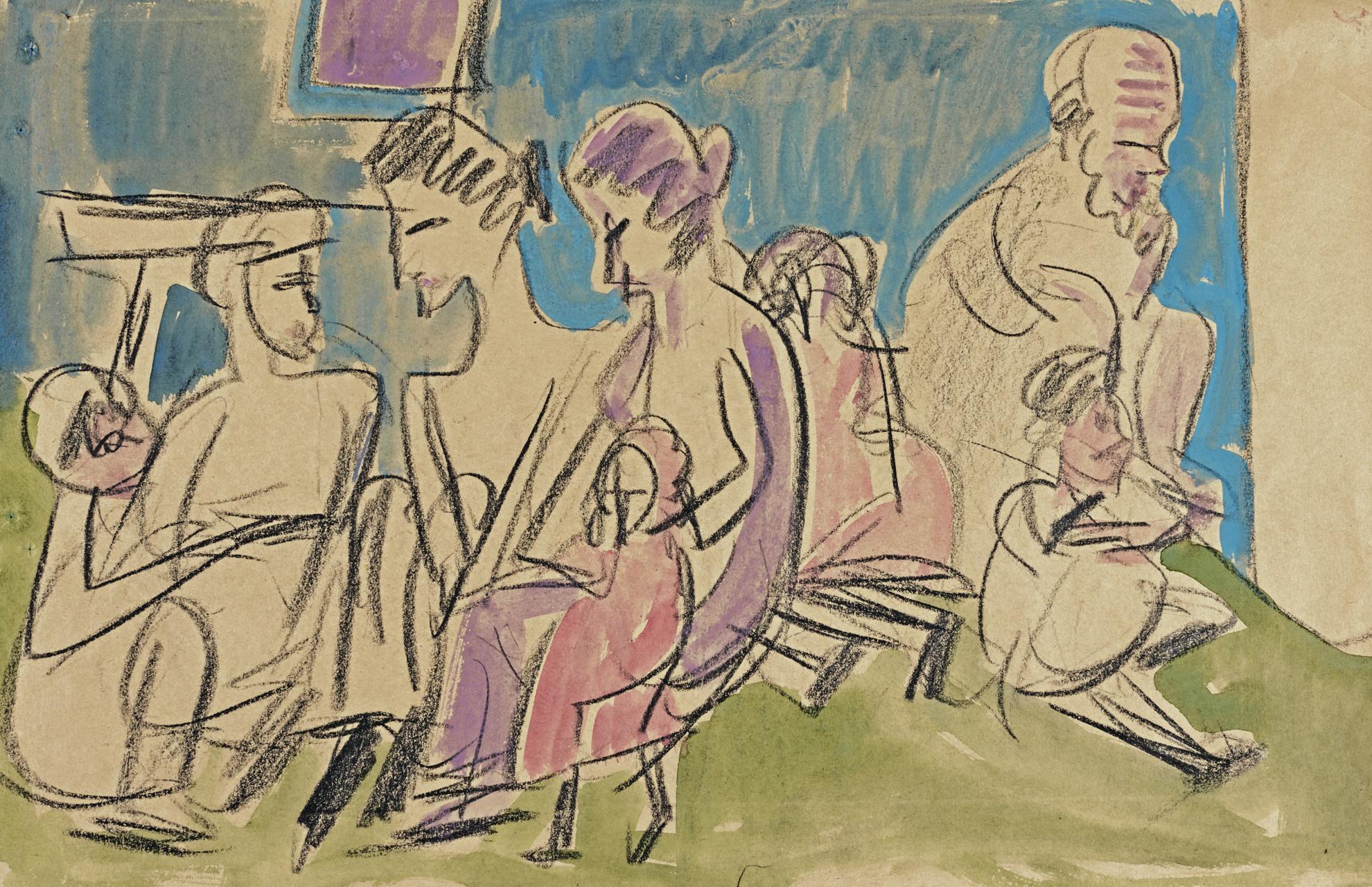 Ernst Ludwig Kirchner-Bauerngruppe Im Gesprach (Farmers In Conversation)-1923