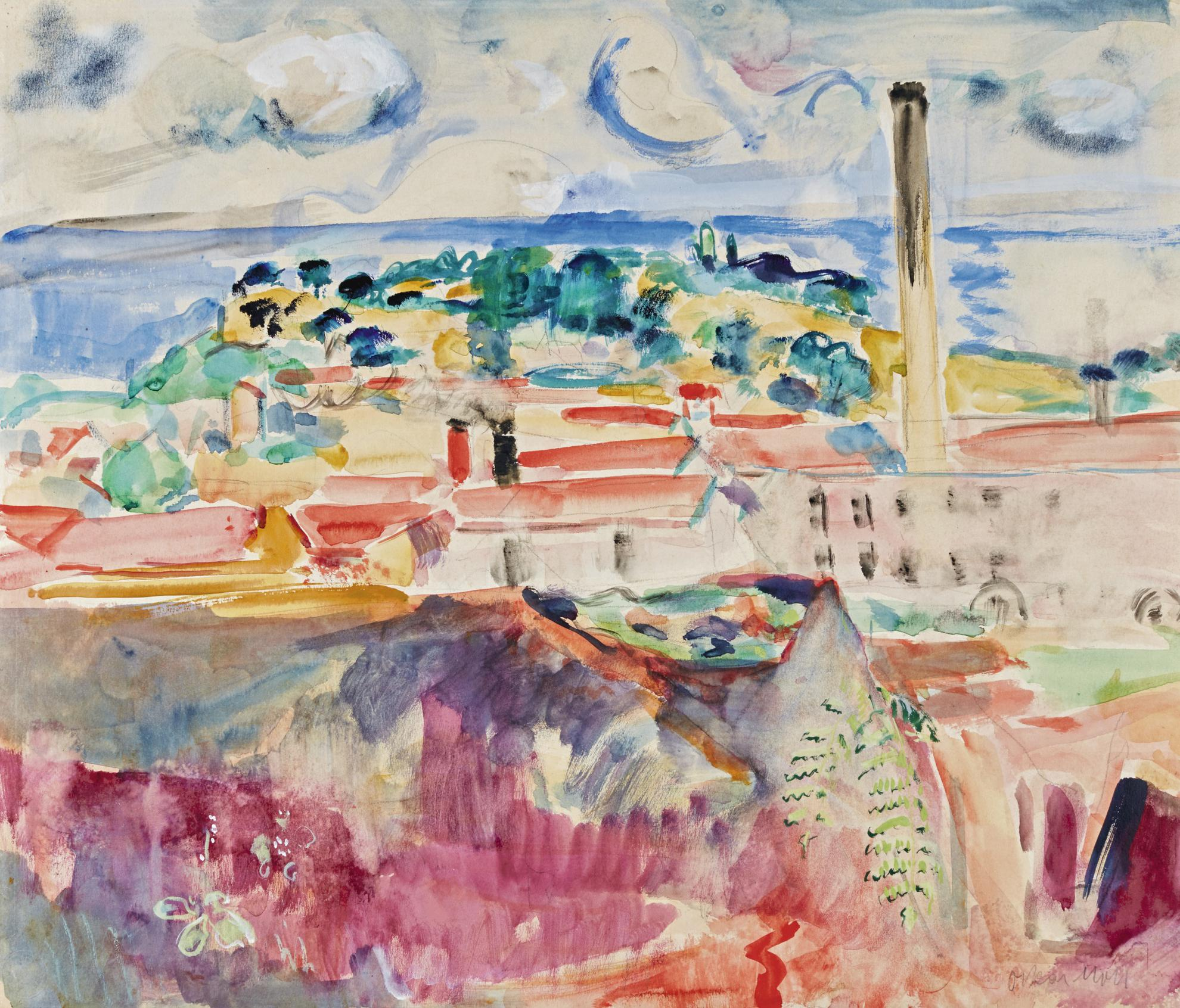 Oskar Moll - Sudliche Landschaft Mit Industrie (Southern Landscape With Factory Building)-1922