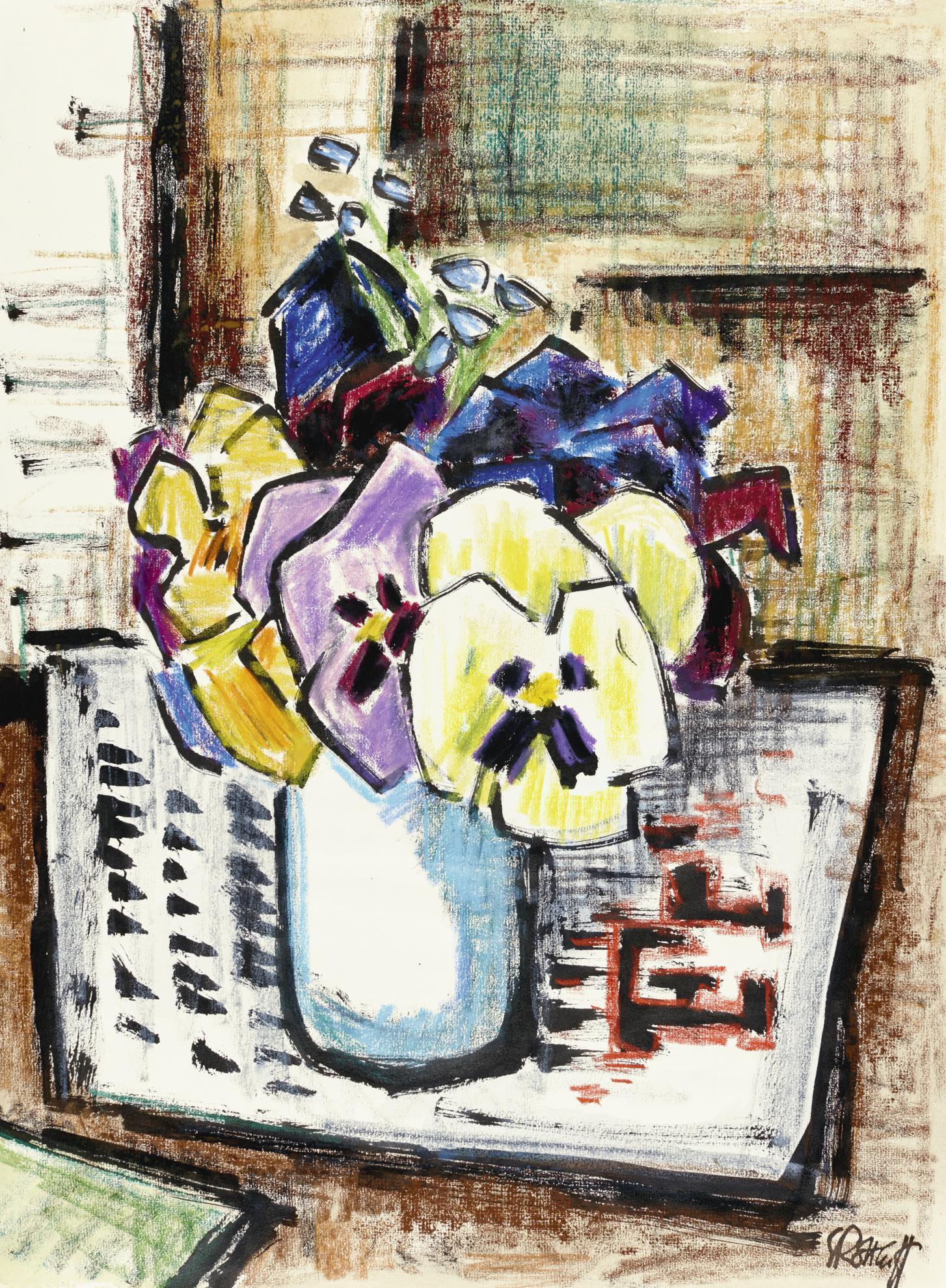 Karl Schmidt-Rottluff-Vase Mit Stiefmutterchen (Vase With Violas)-