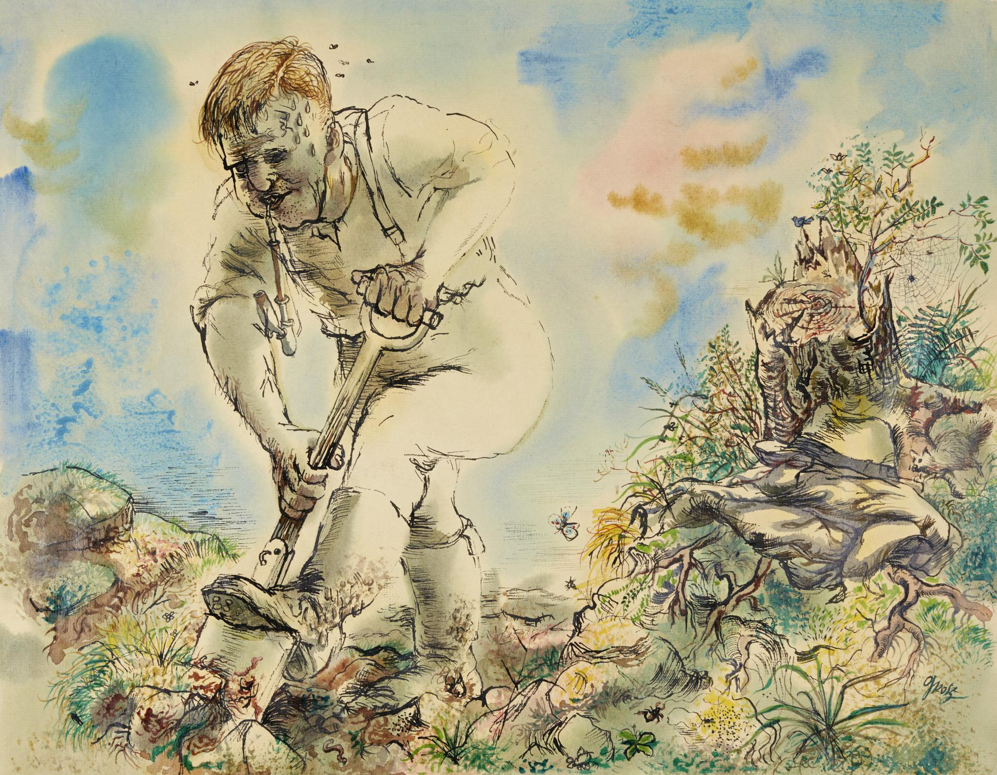 George Grosz-Mann Grabend (Man Digging)-1940