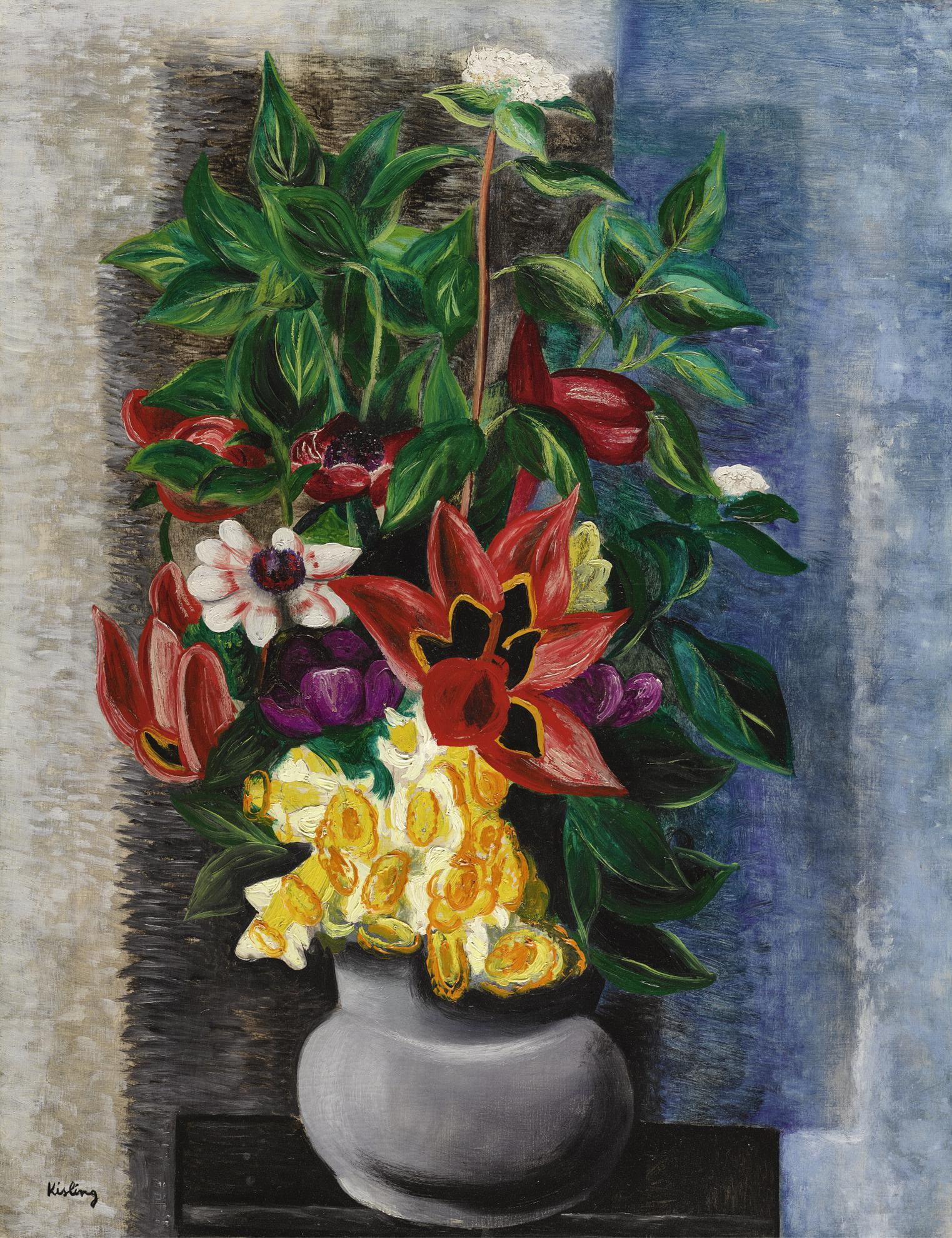 Moise Kisling-Grand Bouquet, Vase De Fleurs-1921