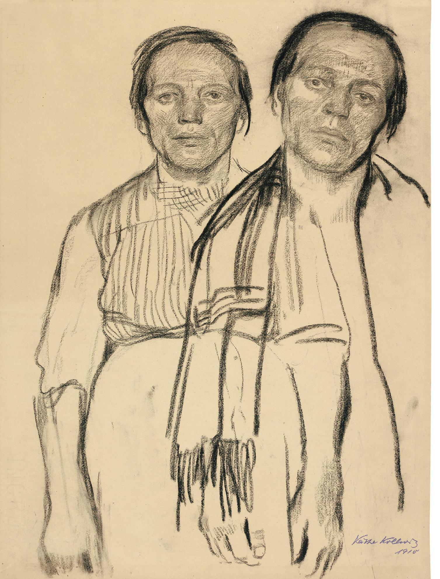 Kathe Kollwitz-Zwei Studien Einer Arbeiterfrau (Two Studies Of A Peasant Woman)-1910