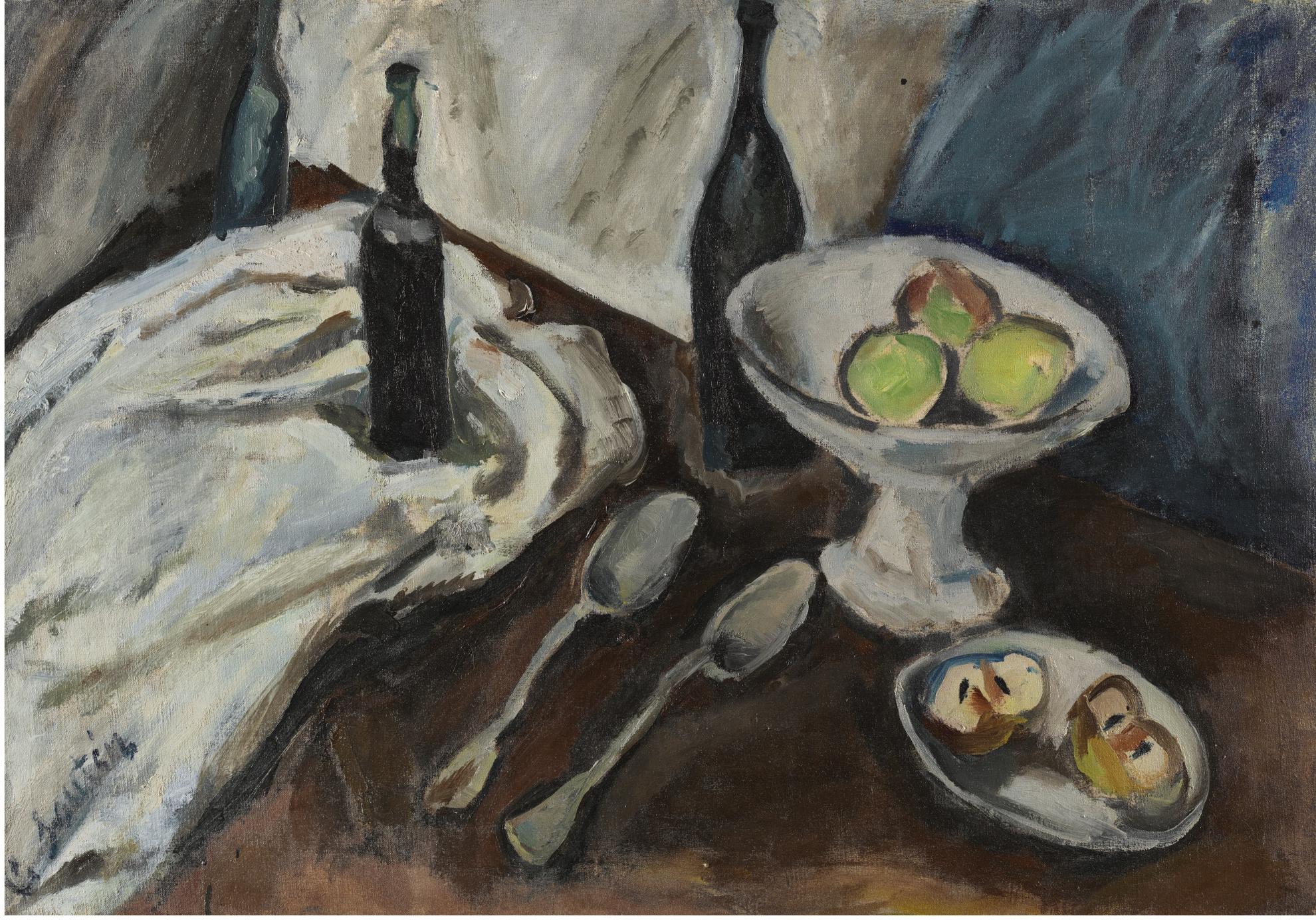 Chaim Soutine-Nature Morte A La Coupe De Fruits Et Aux Trois Bouteilles-1916