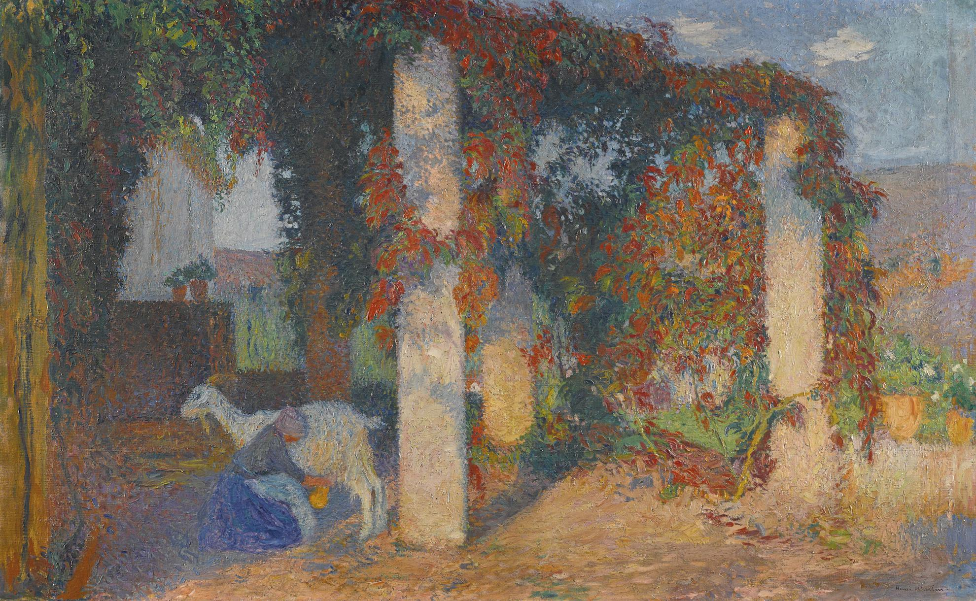 Henri Martin-Jeune Fille Trayant Une Chevre Sous La Pergola De Marquayrol-1910