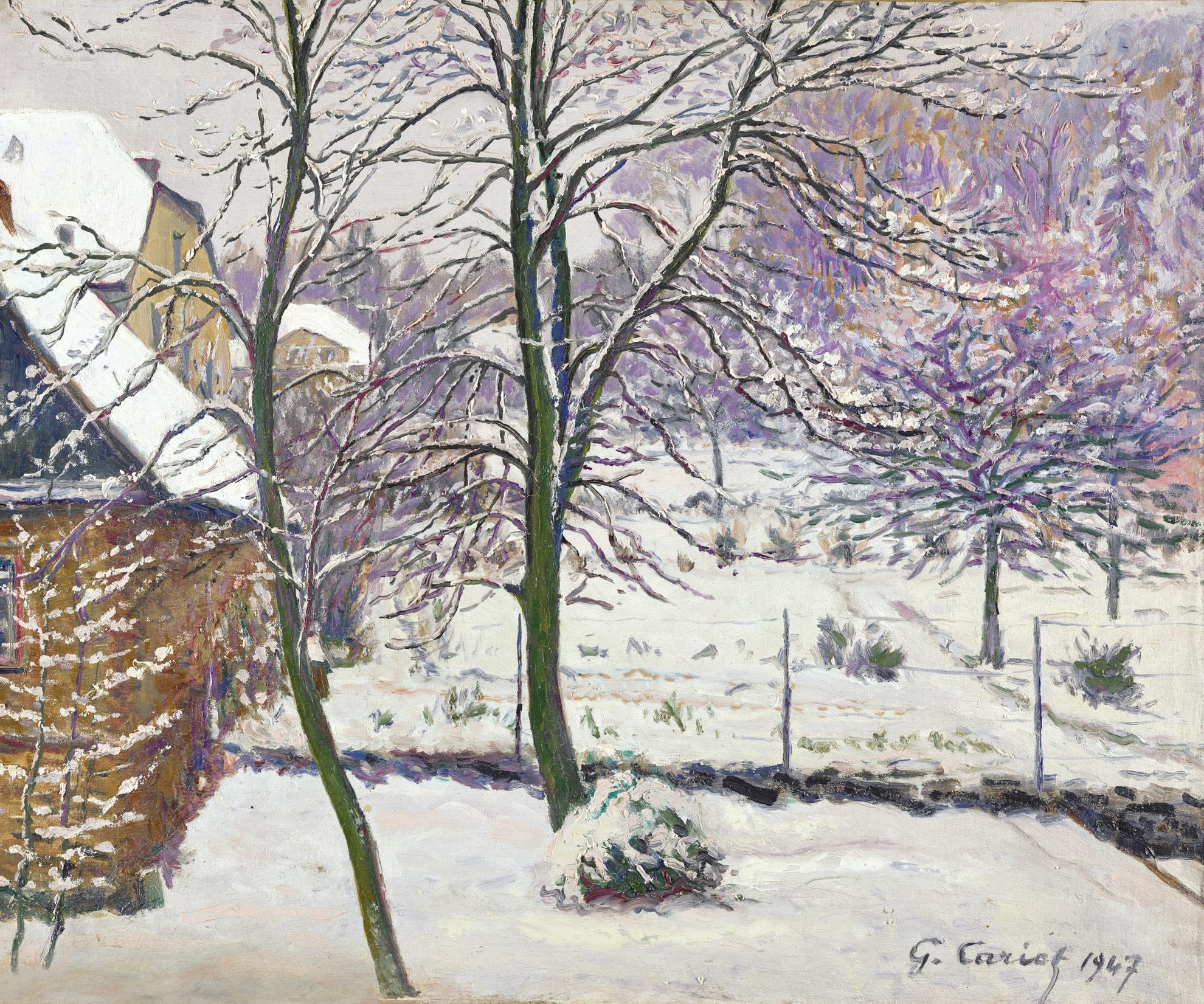 Gustave Cariot-Jardin Sous La Neige-1947