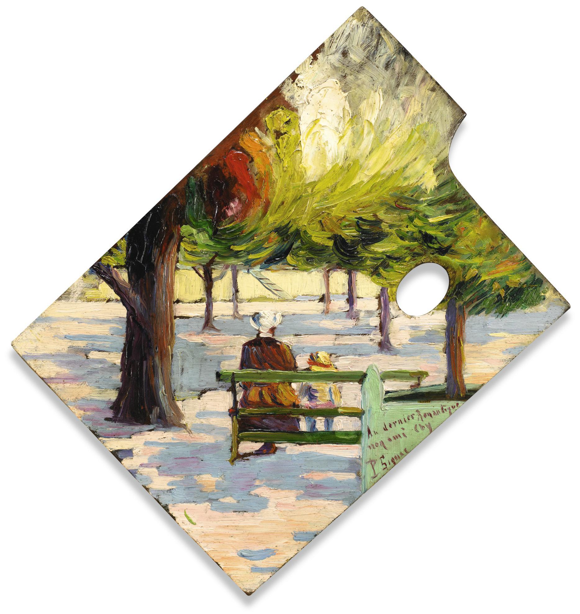 Paul Signac-Palette, Aux Tuileries-1883