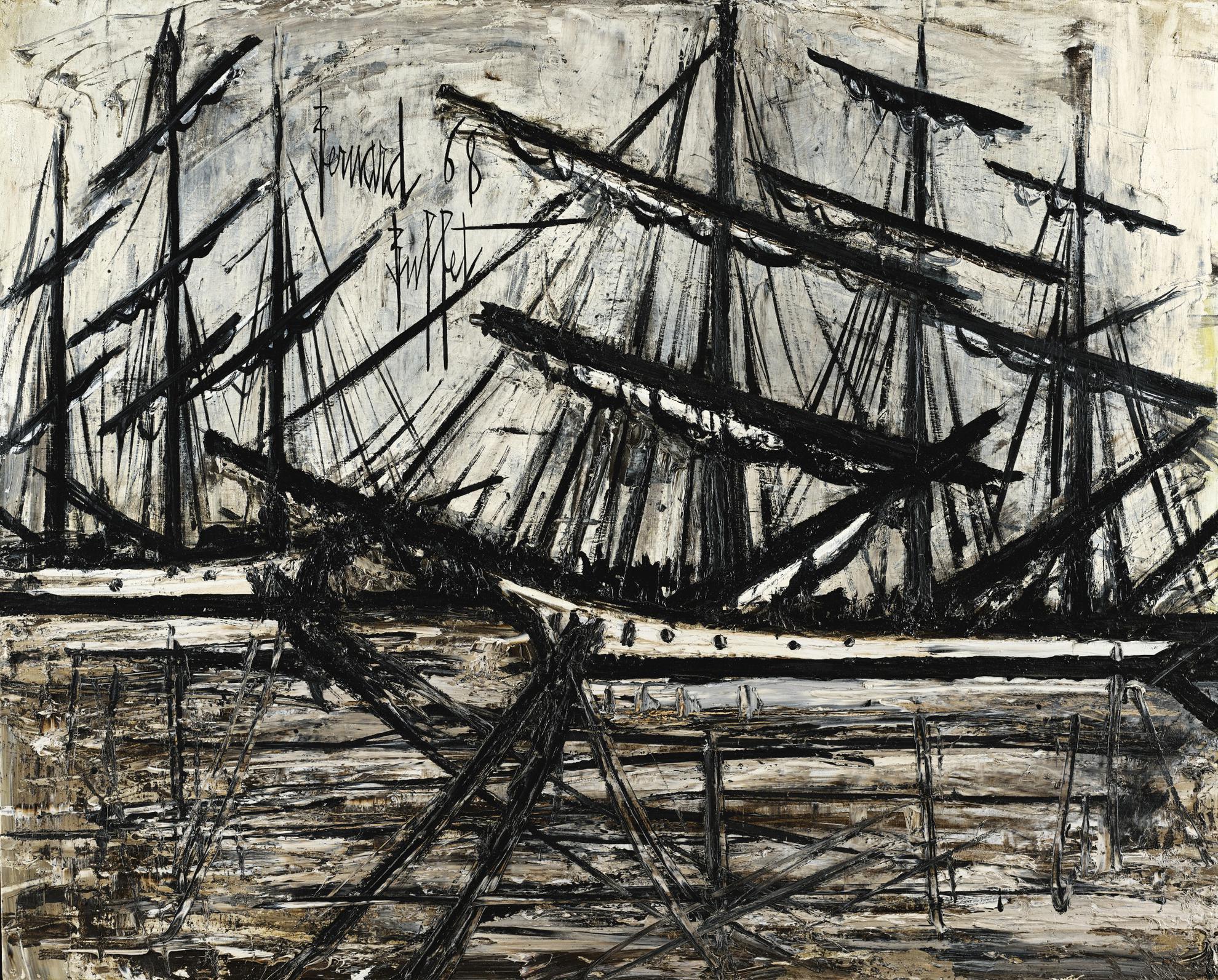 Bernard Buffet-Terre-Neuvas Dans Le Bassin A Saint-Malo-1968