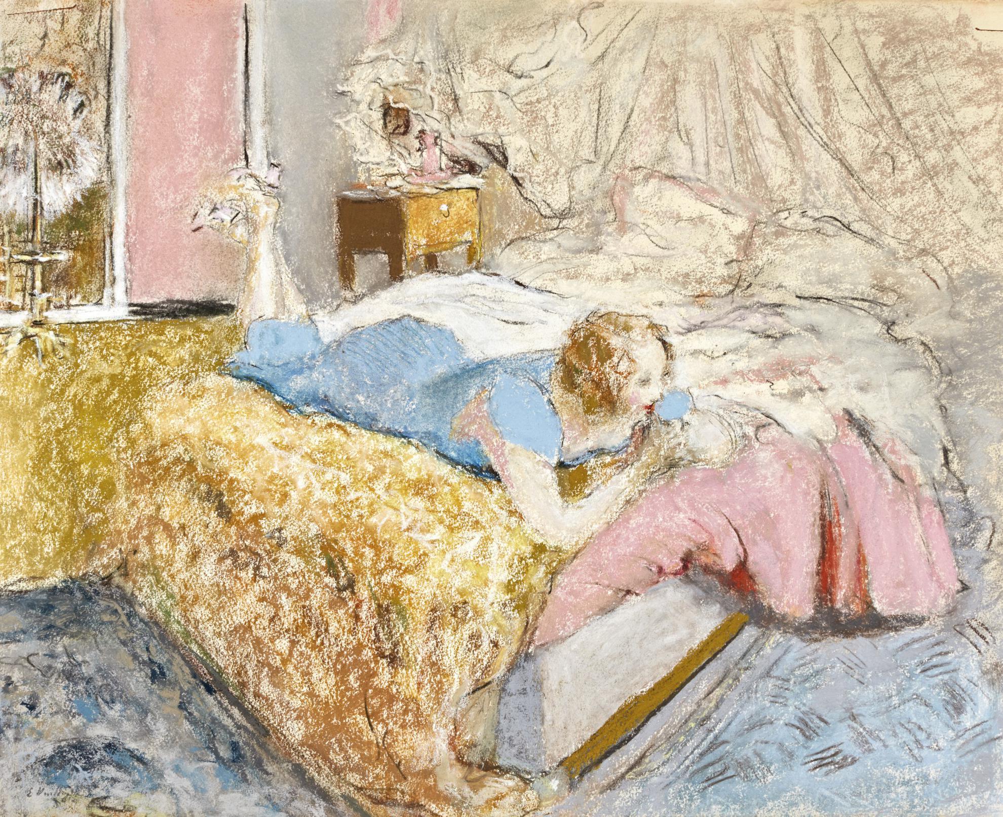 Edouard Vuillard-Gabrielle Jonas Allongee Sur Son Lit-1927