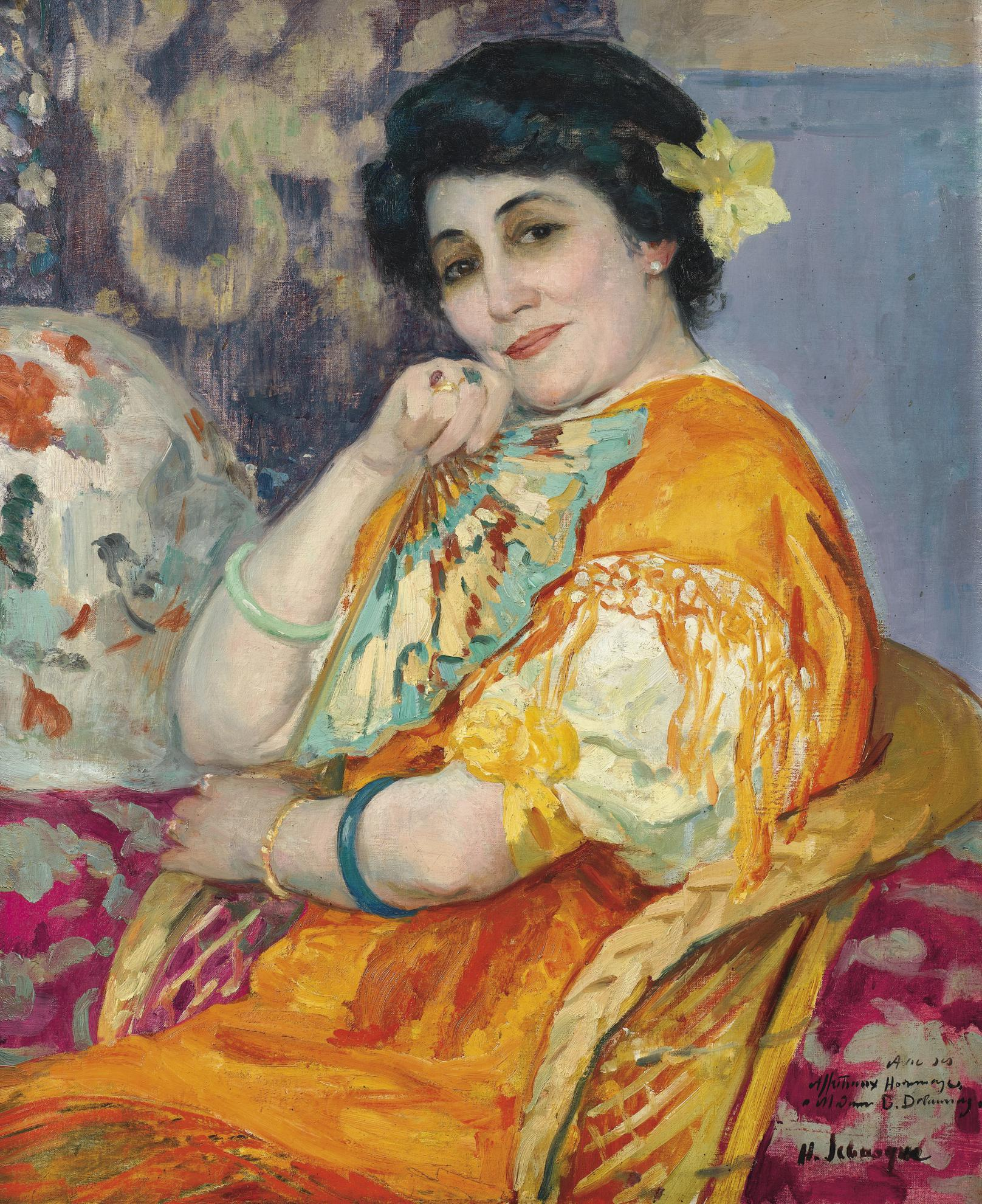 Henri Lebasque-Portrait De Madame Berthe Delaunay-1912