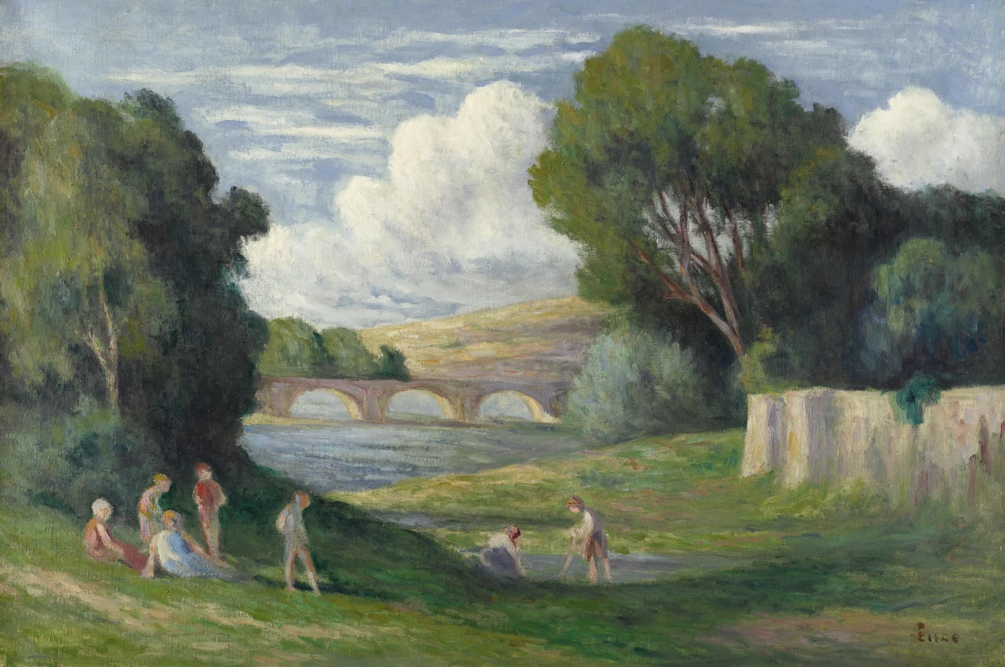 Maximilien Luce-Rolleboise, Baigneurs Pres Du Bras De Seine-1930