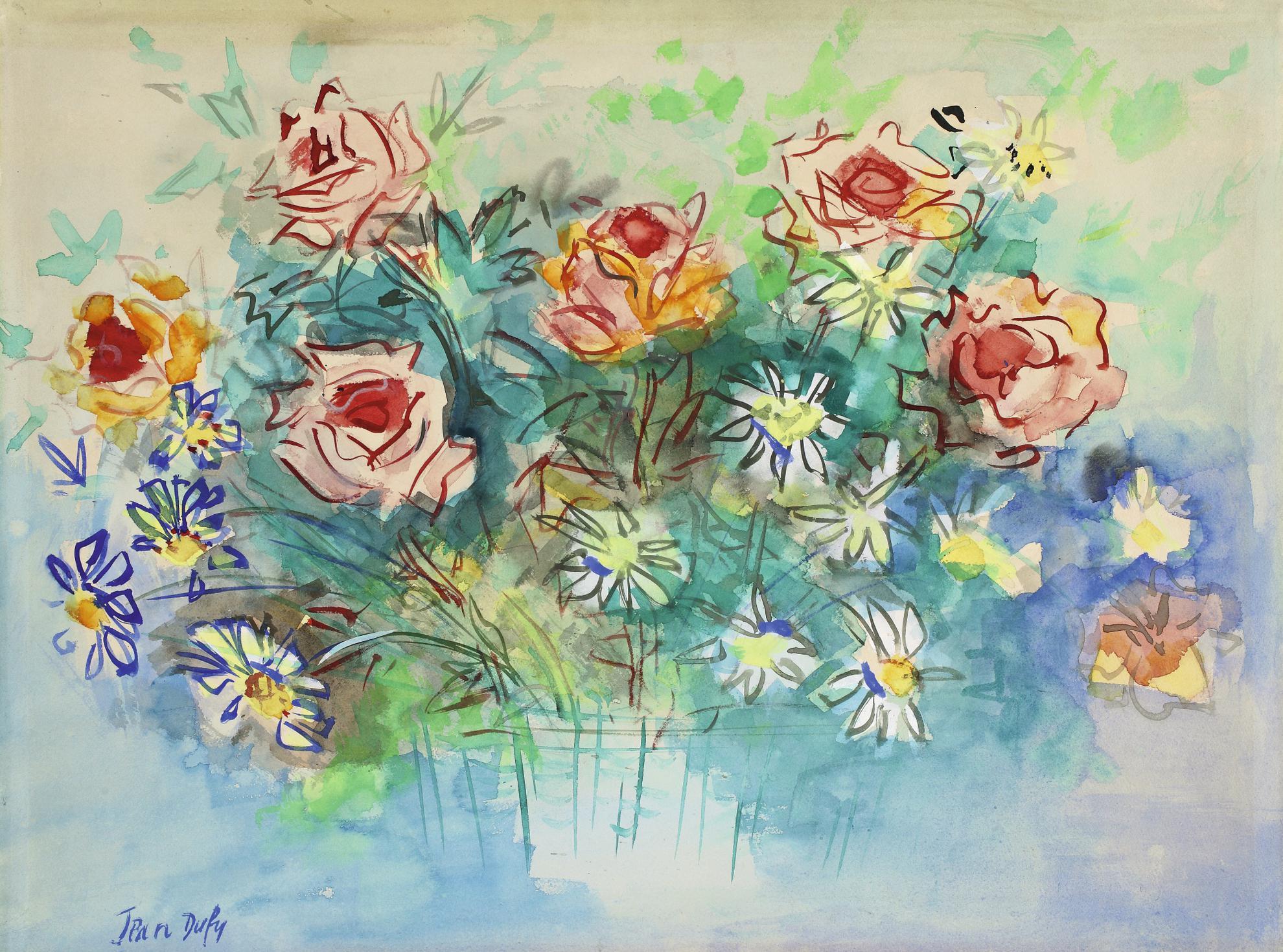 Jean Dufy-Bouquet De Roses Et De Marguerites-1926