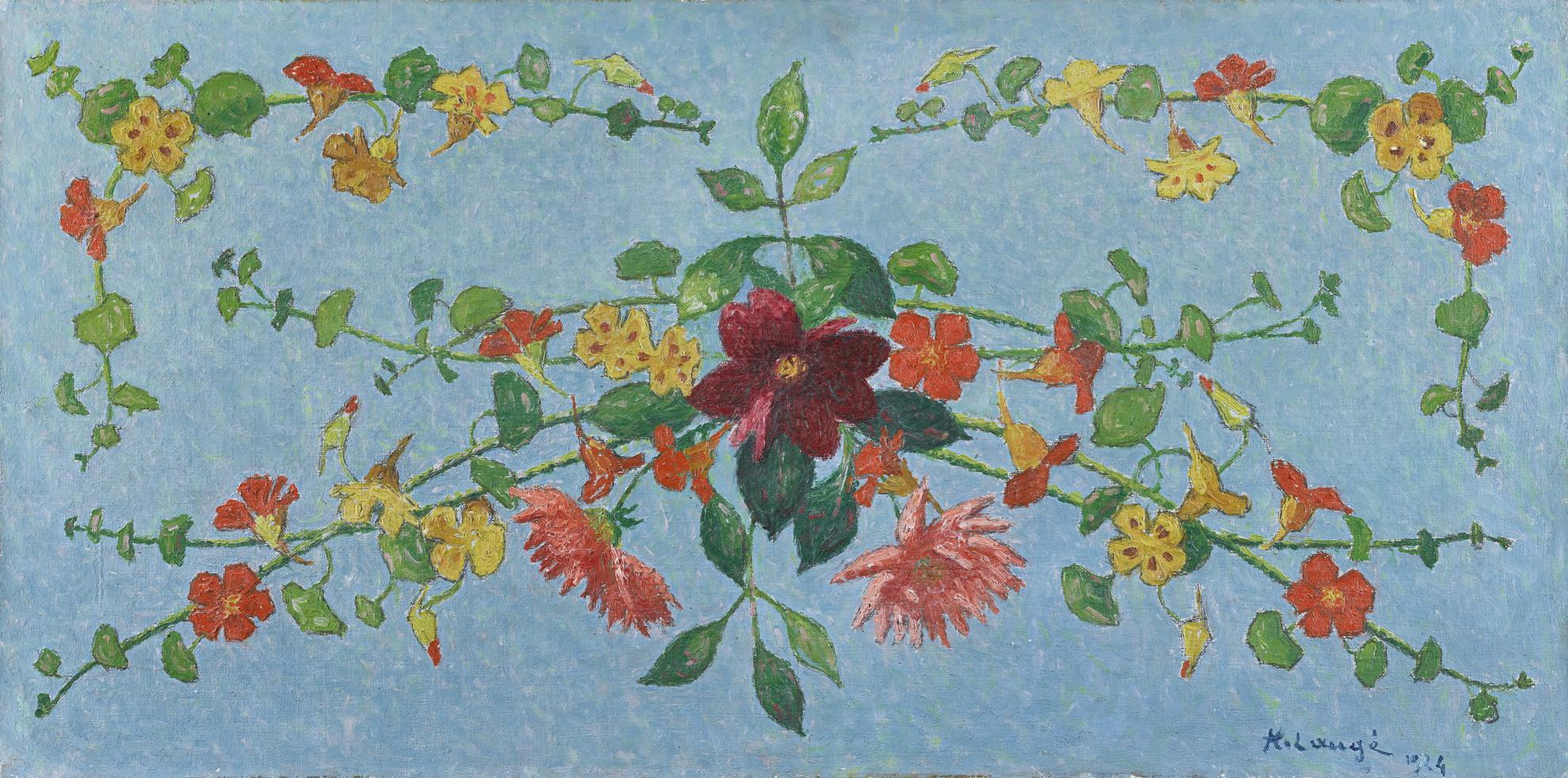 Achille Lauge-Composition De Fleurs, Capucines Et Dahlias-1924