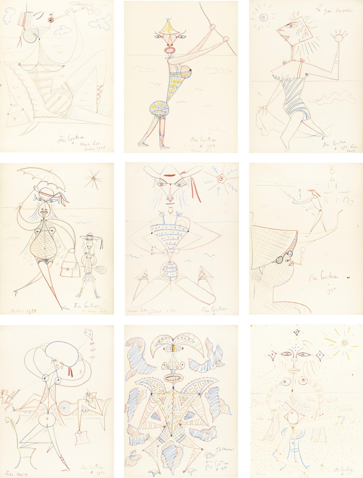 Jean Cocteau-An Album Of 19 Drawings Including A Study For La Gondole Des Morts-1959
