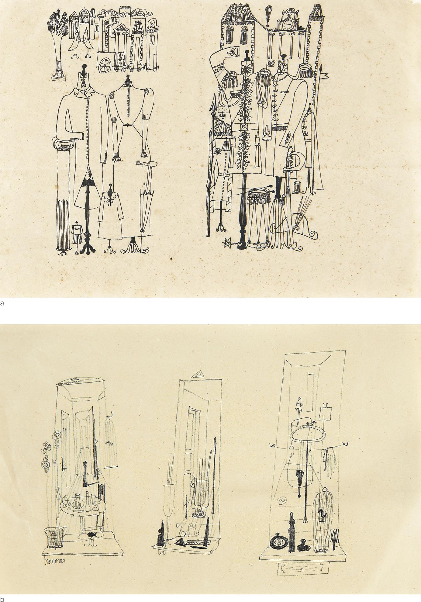 Saul Steinberg-Mannequins (Two Drawings)-1941