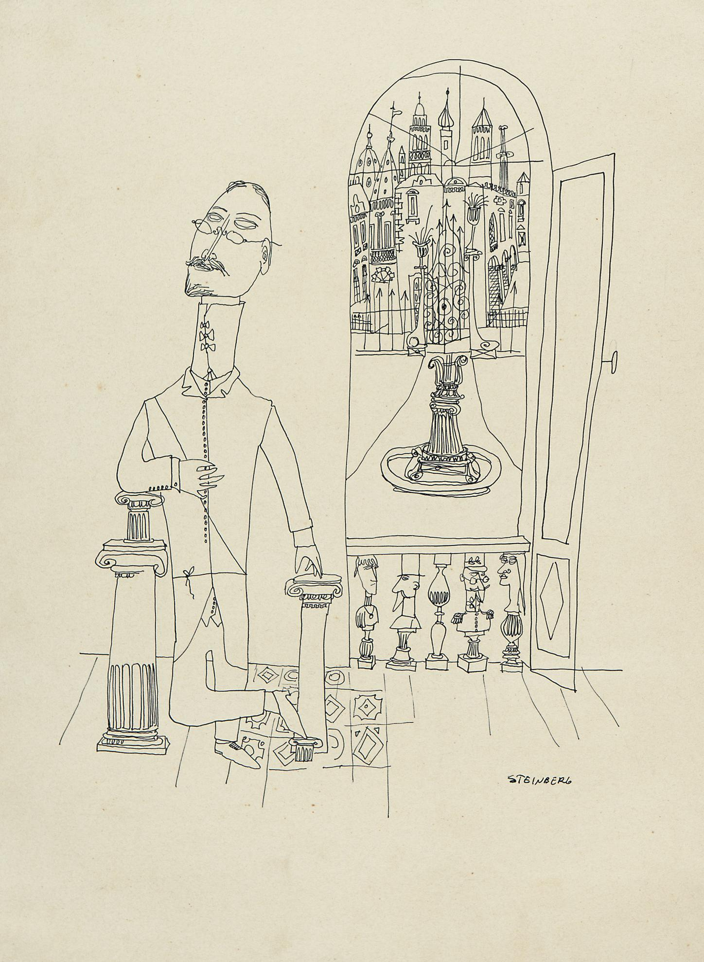 Saul Steinberg-Portrait Of A Man-1941