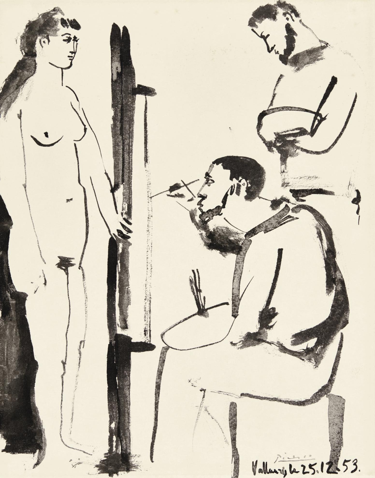 Pablo Picasso-Le Peintre Et Son Modele-1953