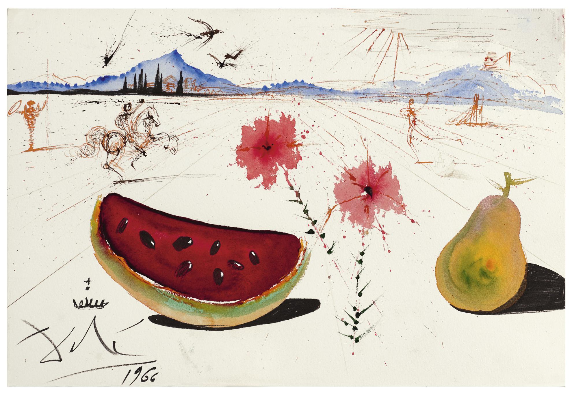Salvador Dali-Fleurs, Pasteque Et Poire Dans Un Paysage Ampurdanais-1966