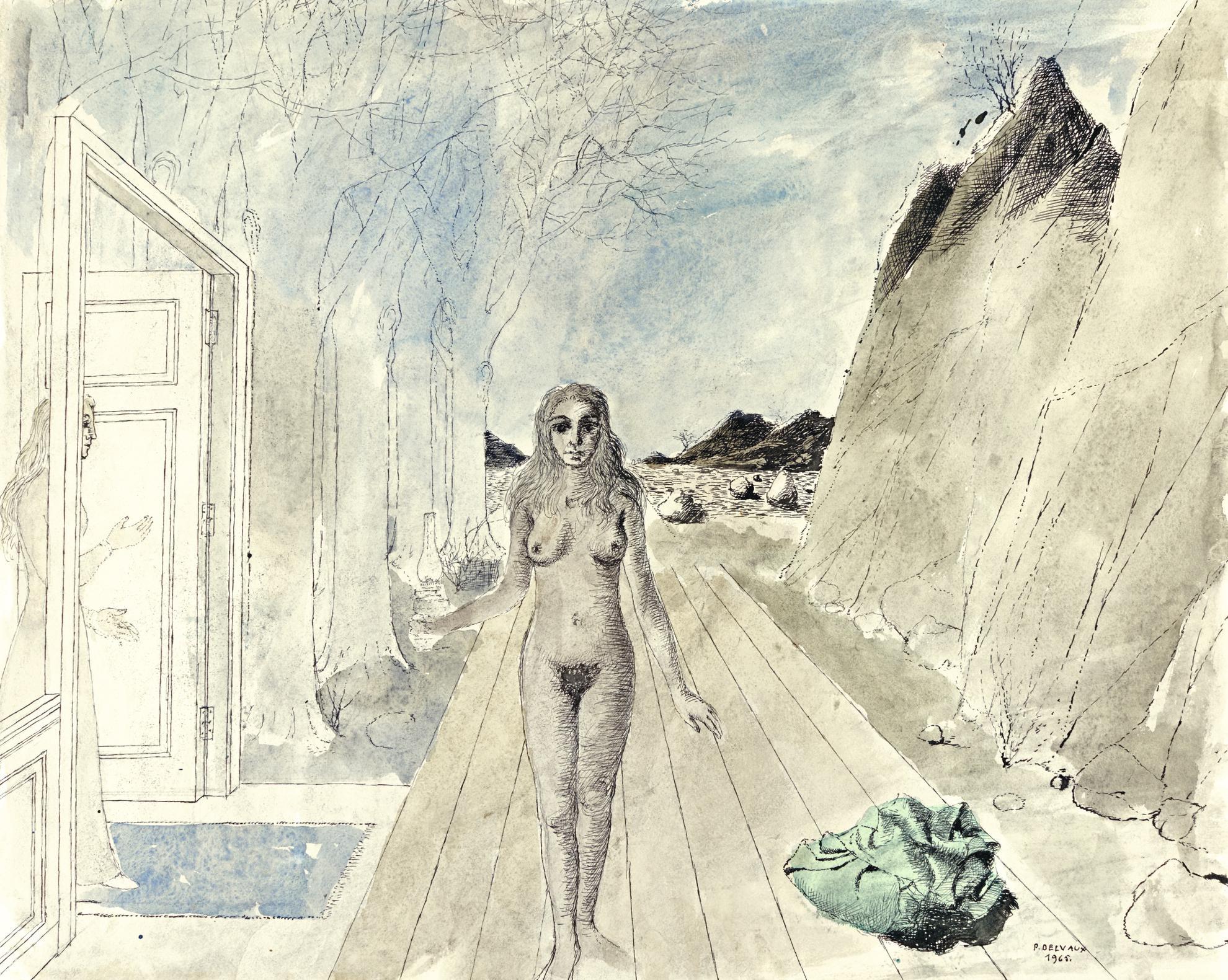 Paul Delvaux-Etude Pour Le Tableau Le Retour-1965