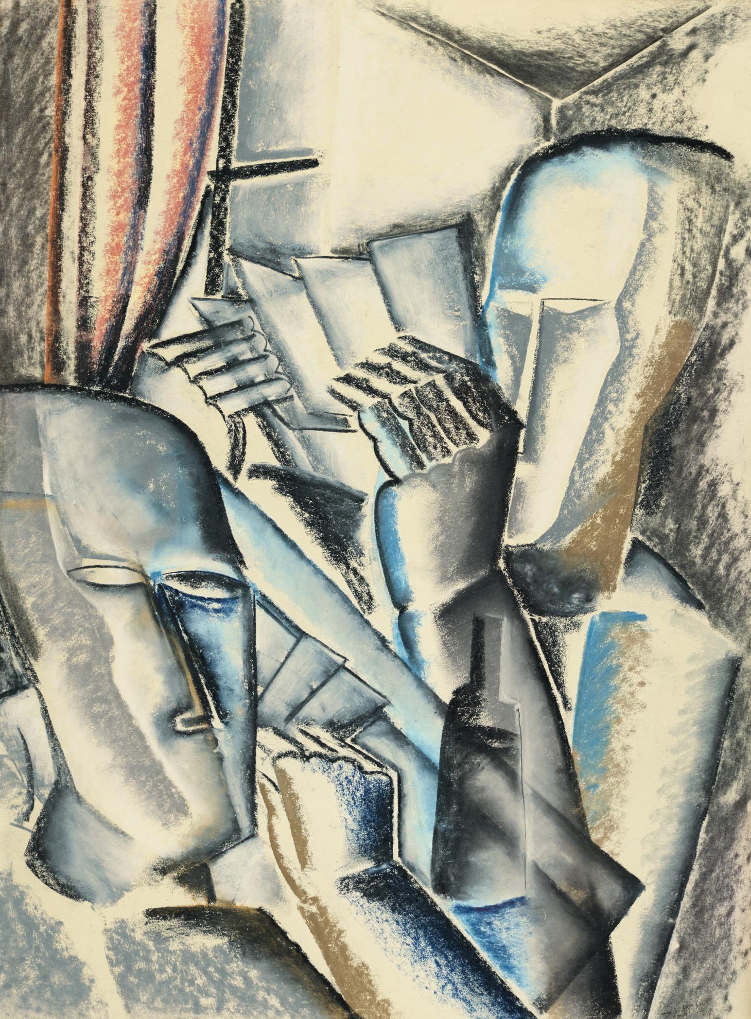 Ossip Zadkine-Sans Titre (Les Joueurs De Cartes)-1920