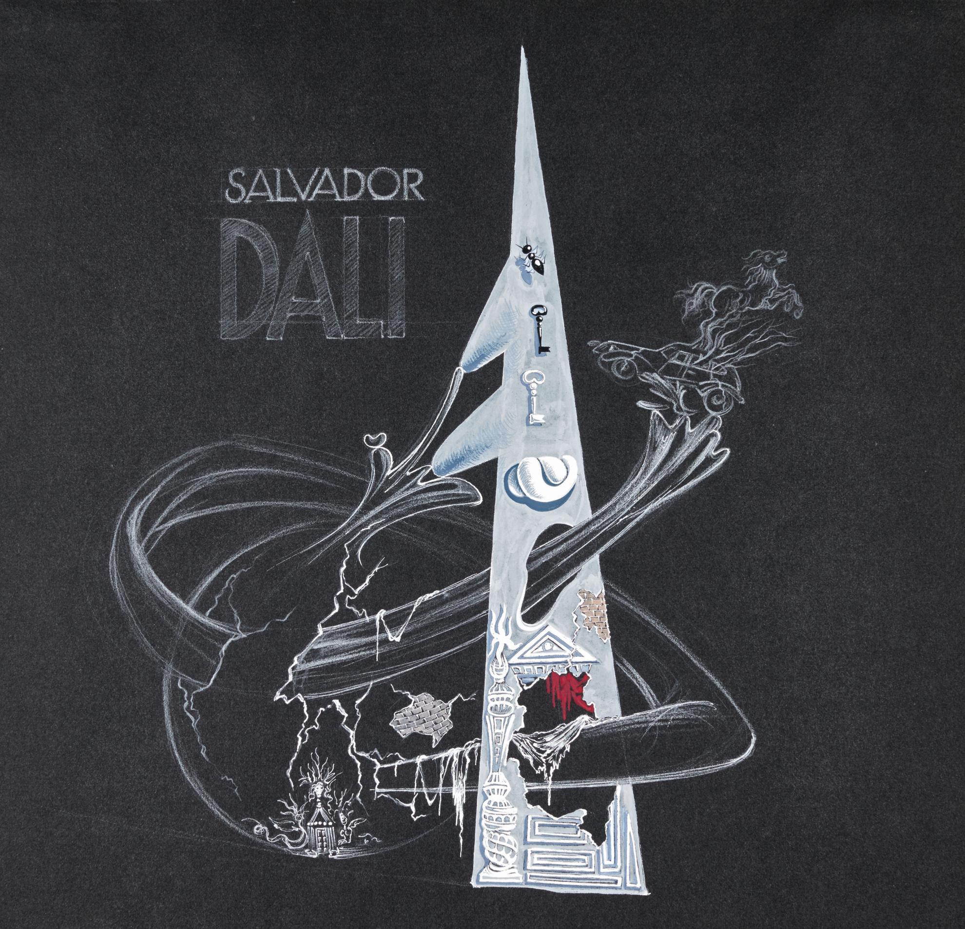 Salvador Dali-La Sphere Attaque La Pyramide (Etude)-1939