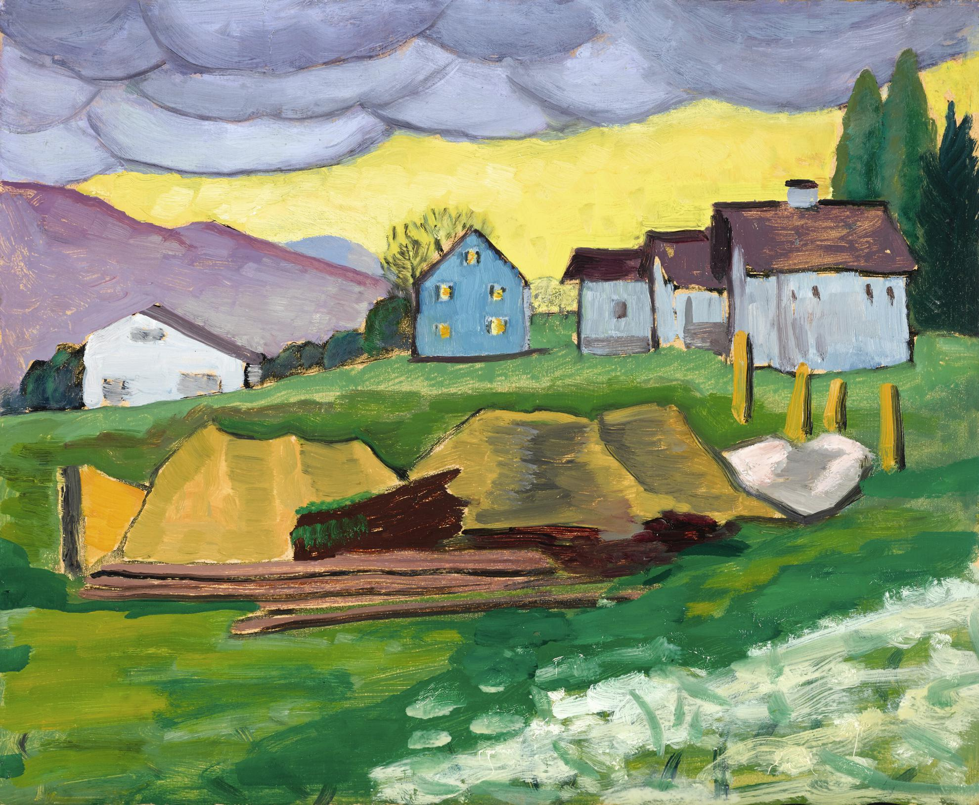Gabriele Munter-Landschaft Mit Blauen Hausern (Landscape With Blue Houses)-1936
