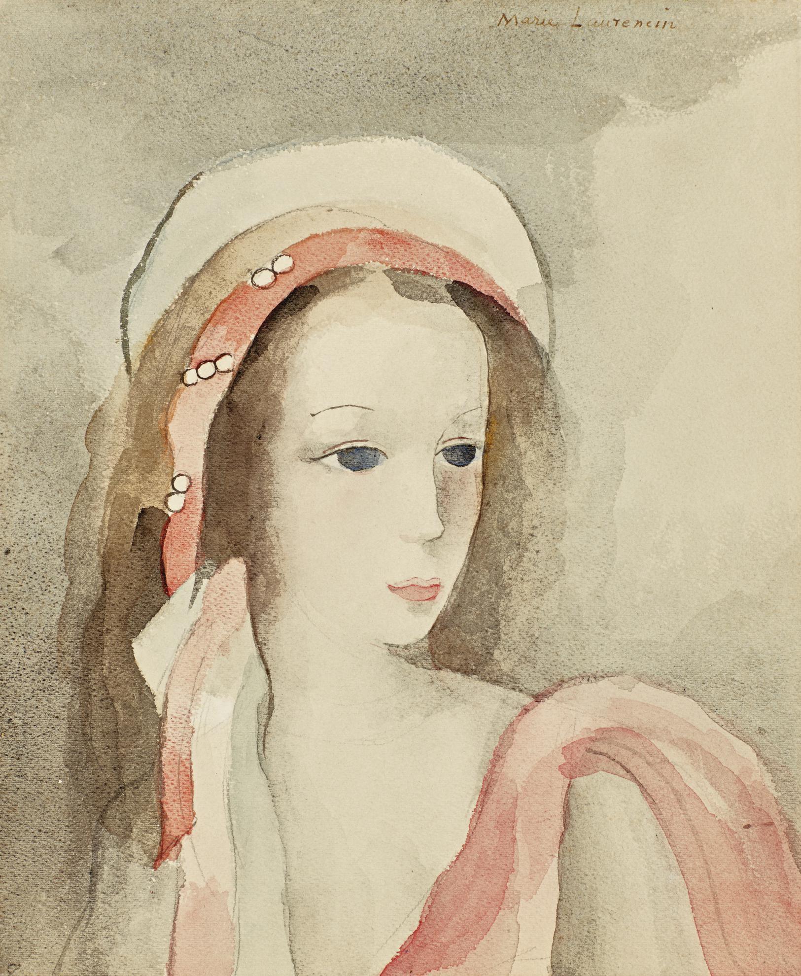 Marie Laurencin-Jeune Fille Au Turban Perle Rose-