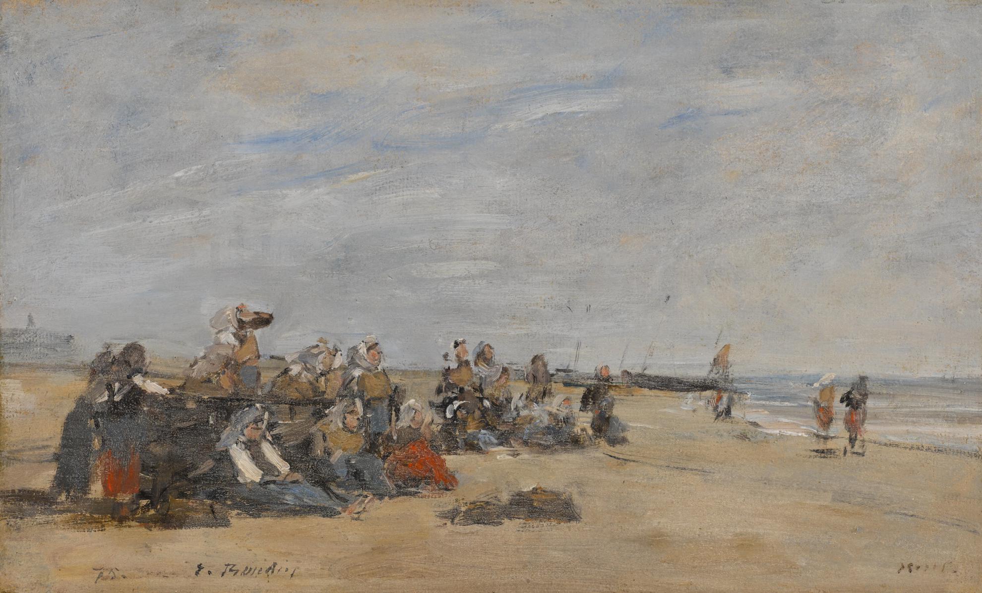 Eugene Louis Boudin-Berck, Groupe De Pecheuses Assises Sur La Greve-1875