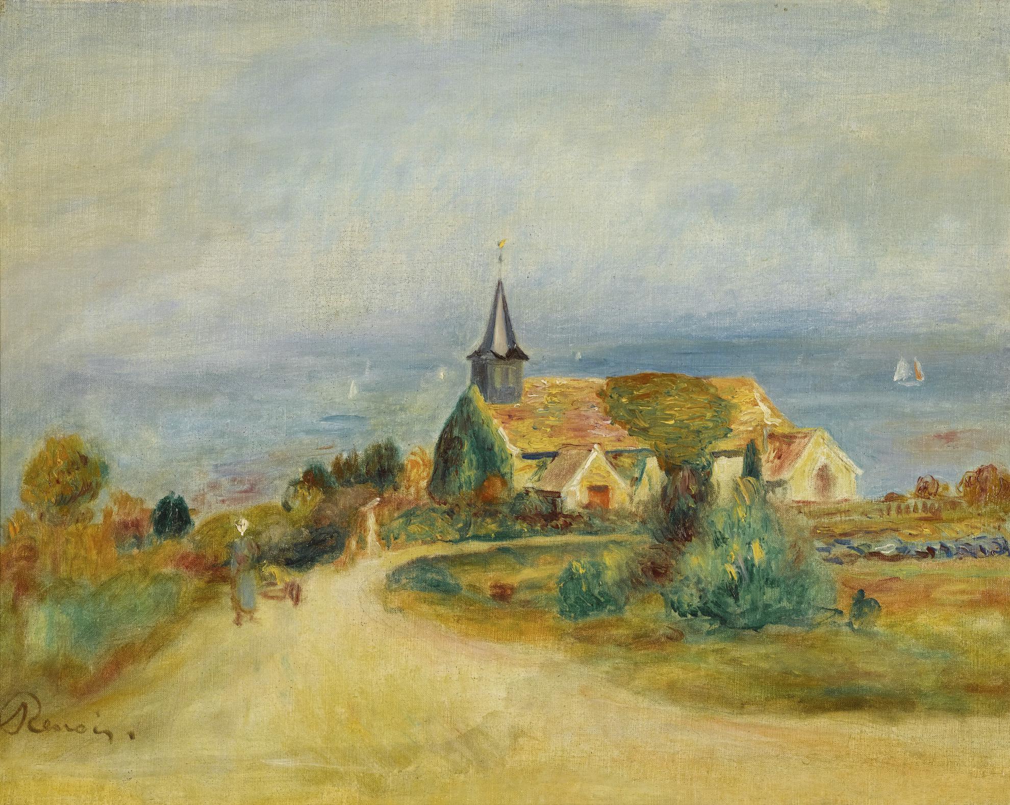 Pierre-Auguste Renoir-Village Au Bord De La Mer - Leglise A Varengeville-1880