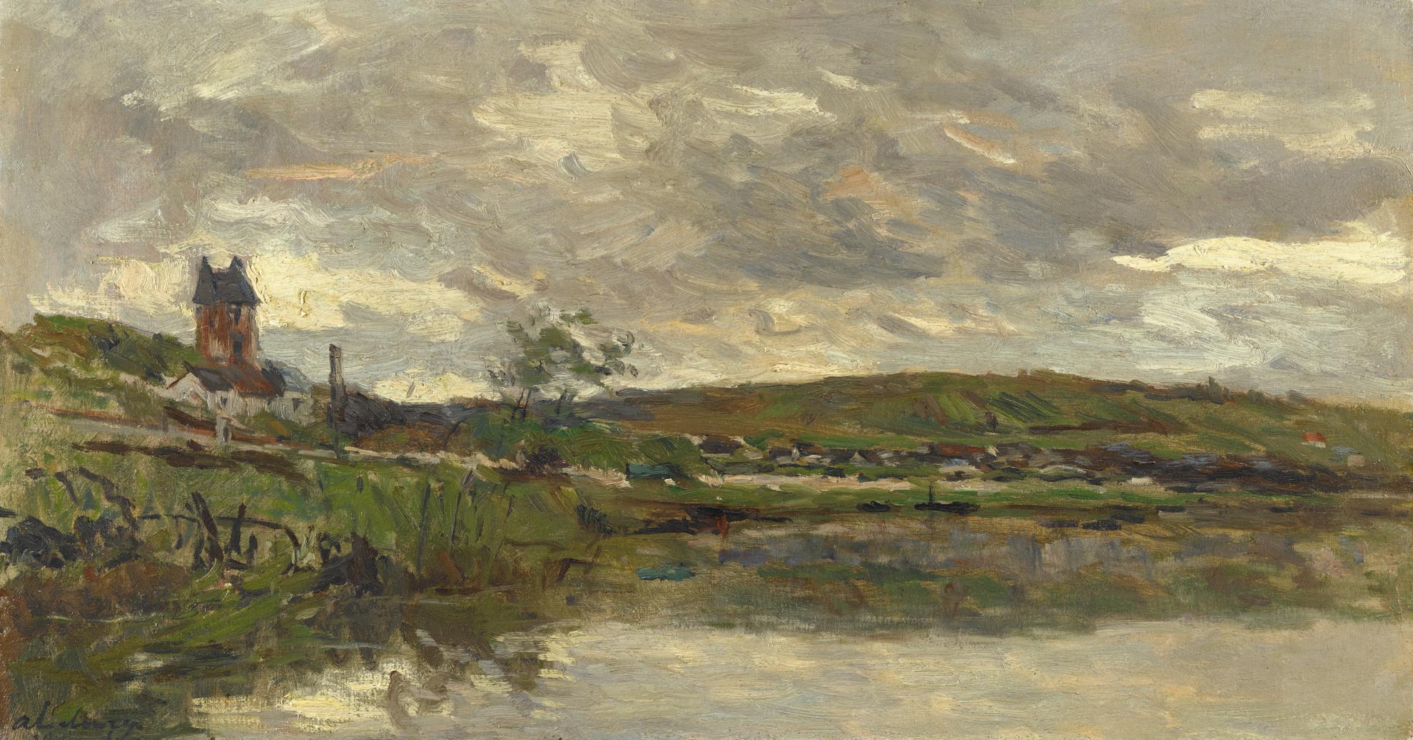 Albert Lebourg-Les Bords De La Seine A Vetheuil, Temps Couvert-1883