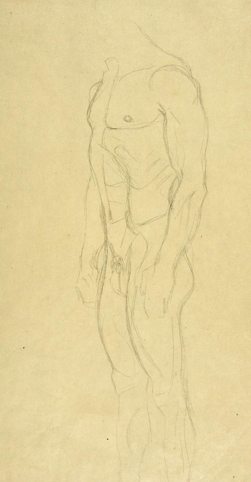 Gustav Klimt-Mannerakt Ohne Kopf Nach Links Stehend (Standing Nude Male Torso)-1904