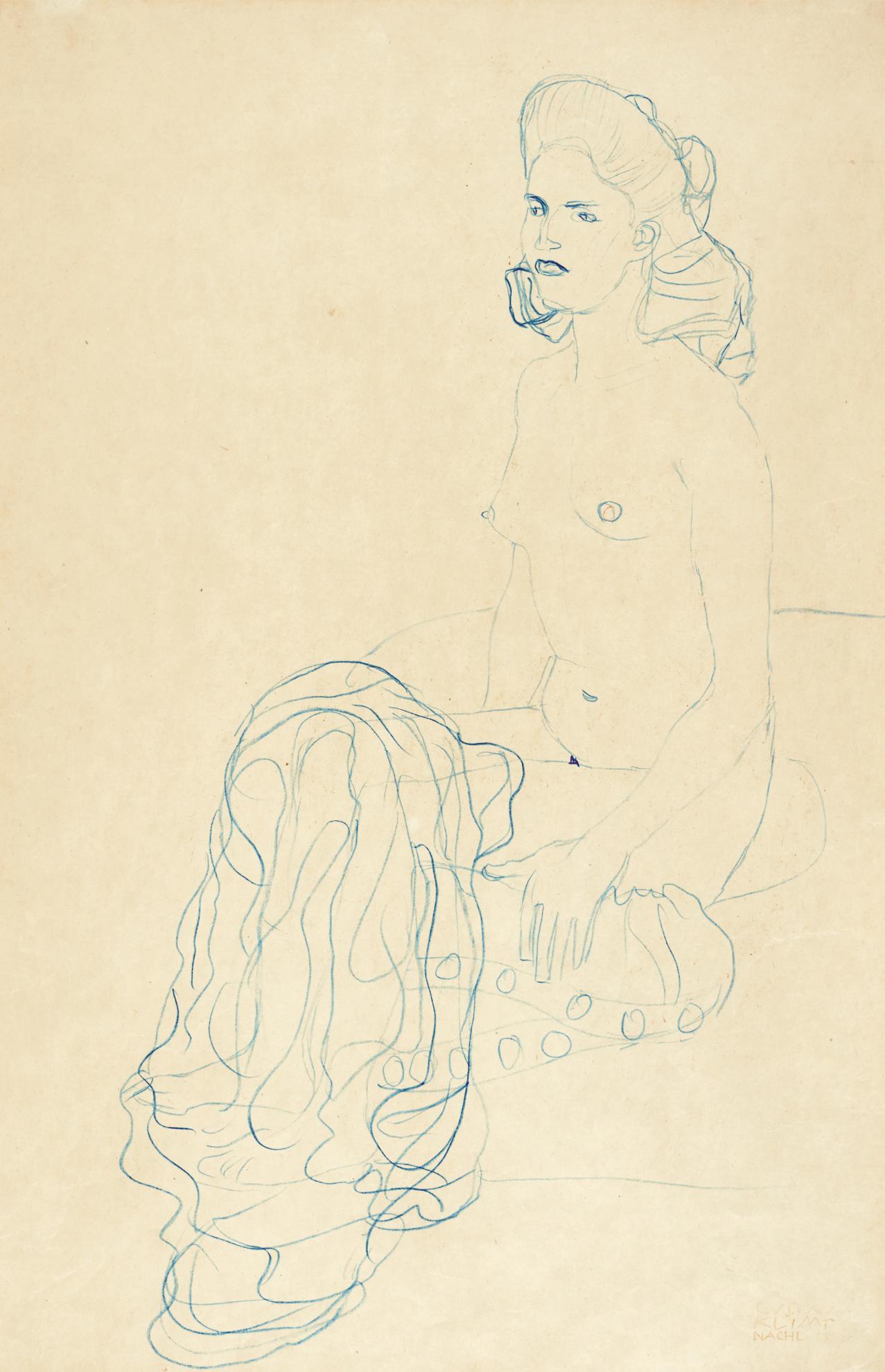 Gustav Klimt-Nach Links Sitzender Halbakt (Half Nude To The Left)-1907